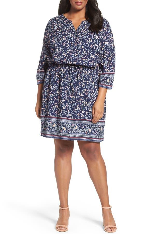 Caslon Print Blouson Dress Plus Size Nordstrom