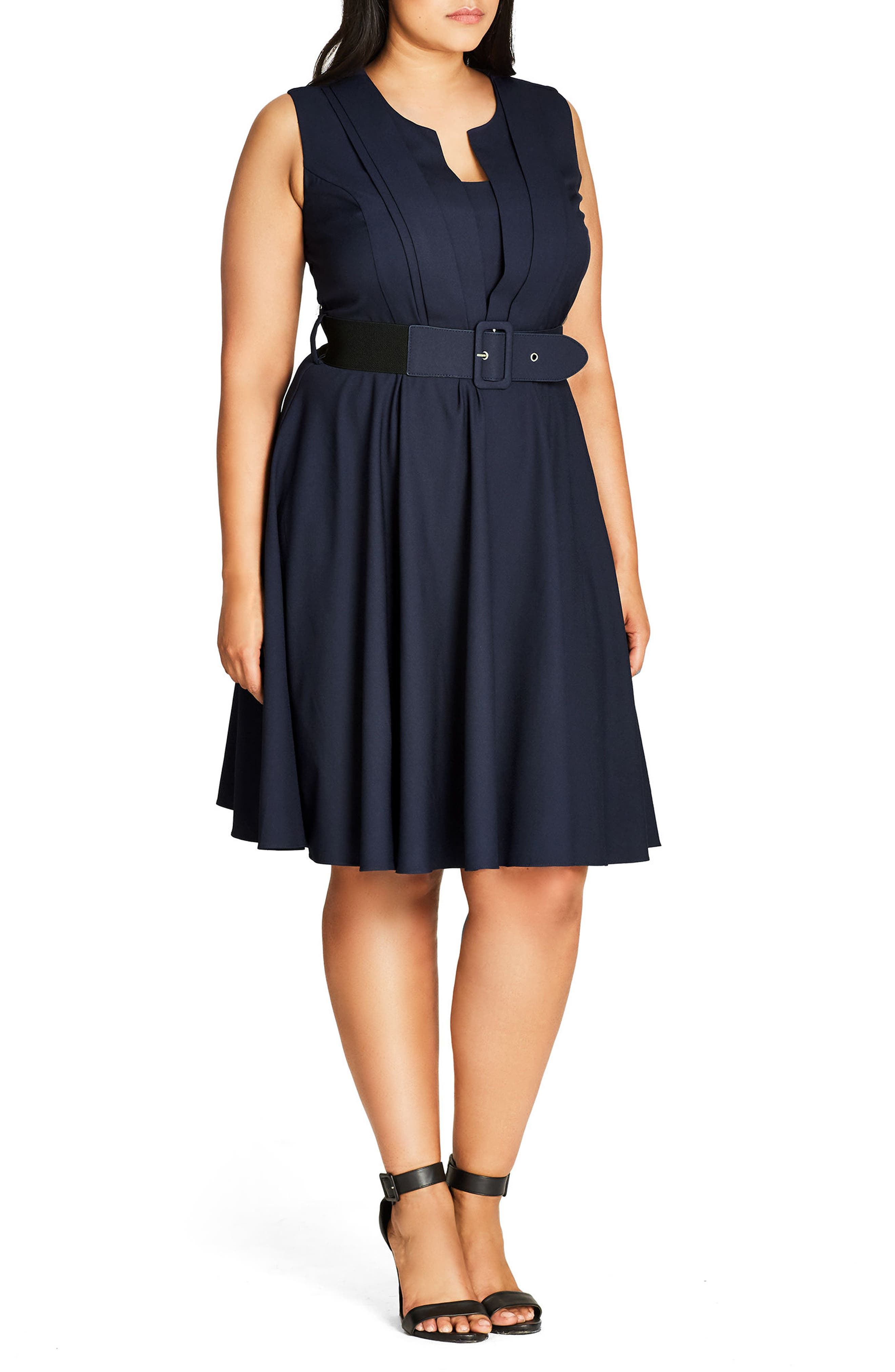 Vintage Veronica Belted Pleat Fit & Flare Dress,                             Alternate thumbnail 3, color,                             Navy