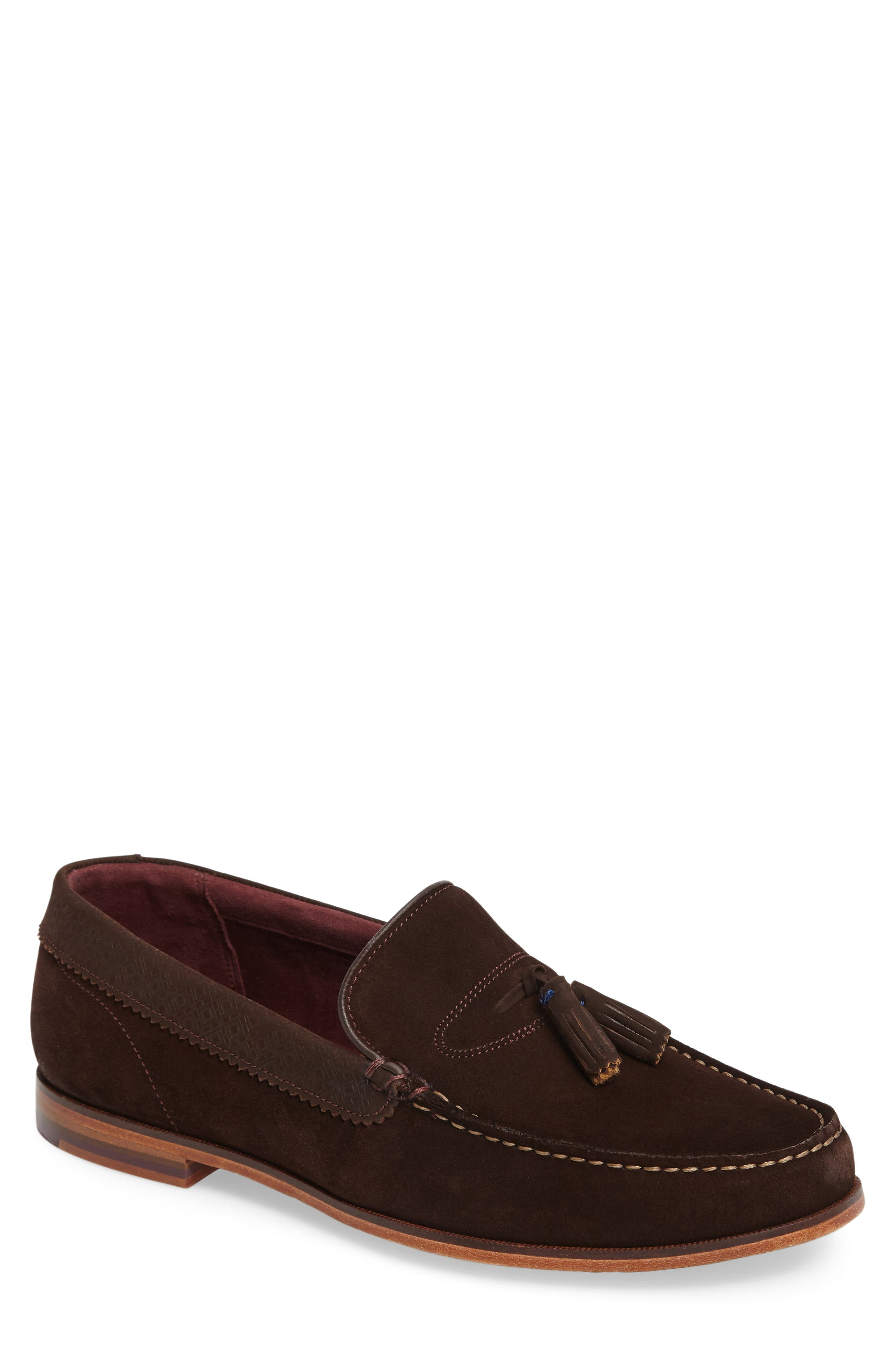 Dougge Tassel Loafer,                             Main thumbnail 1, color,                             Brown Suede