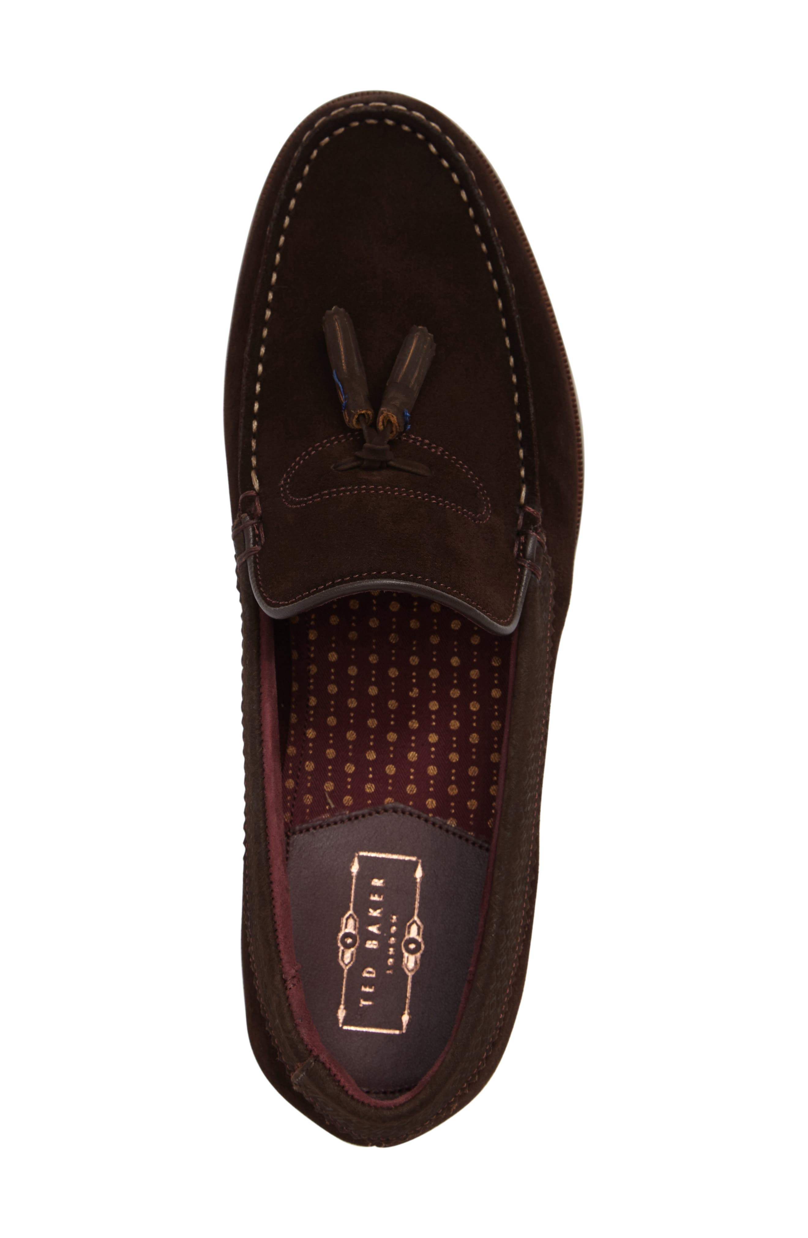 Dougge Tassel Loafer,                             Alternate thumbnail 3, color,                             Brown Suede