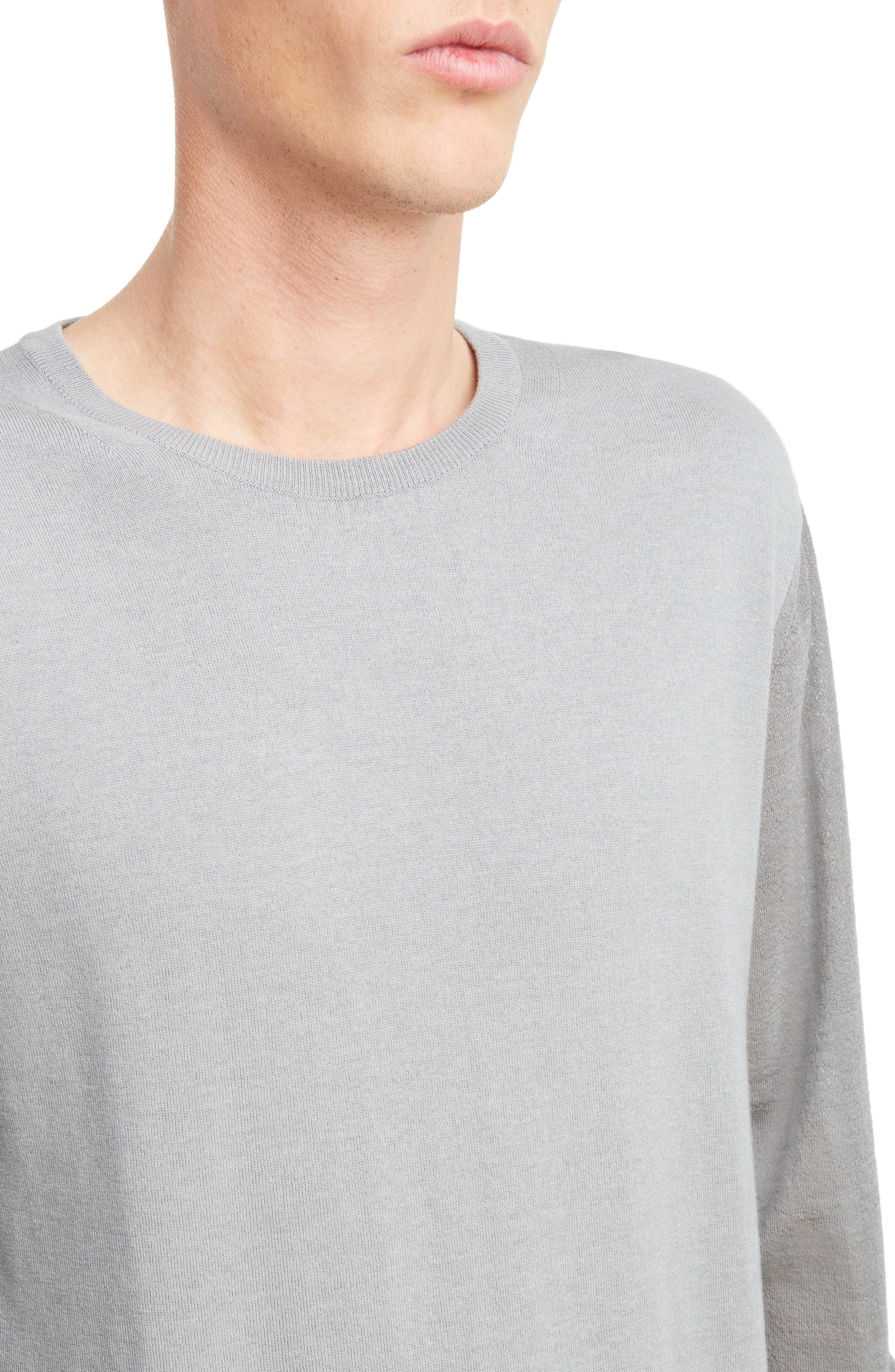 Cotton & Wool Colorblock Pullover,                             Alternate thumbnail 4, color,                             Light Grey