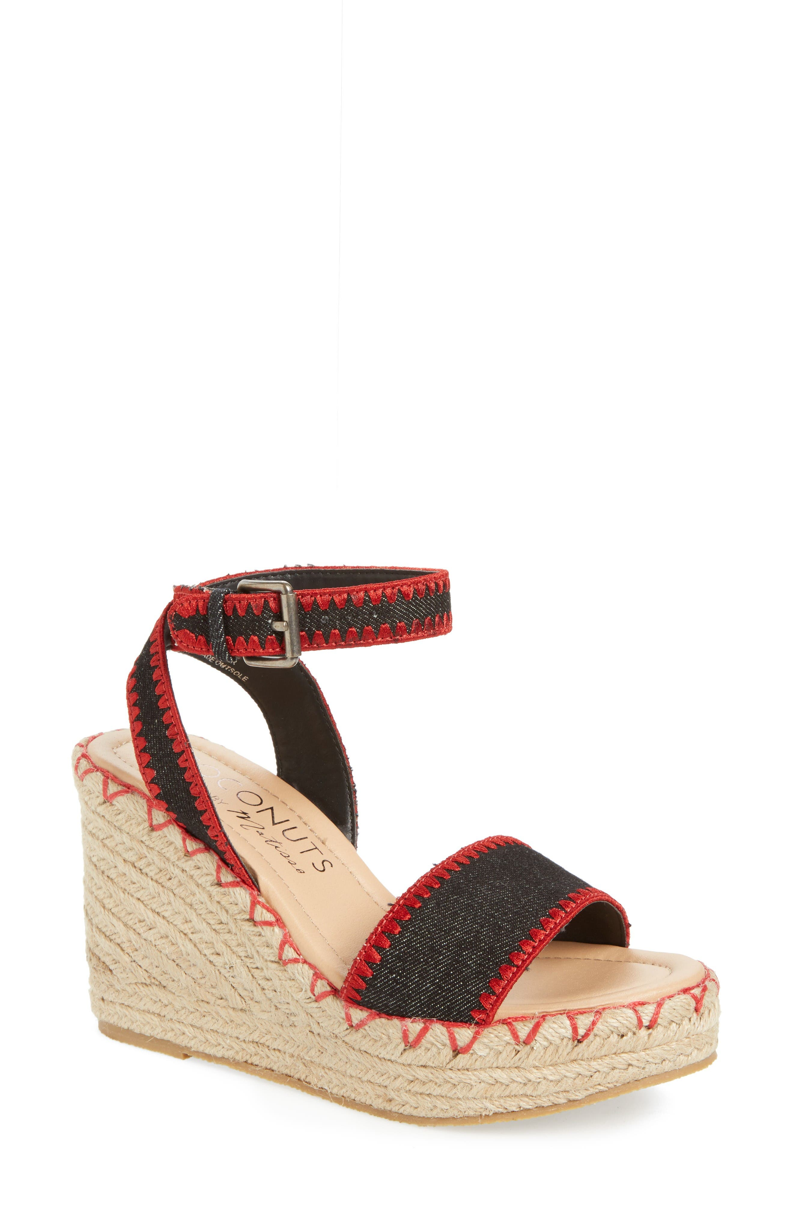 Coconuts by Matisse Frenchie Wedge Sandal,                             Main thumbnail 1, color,                             Black Fabric