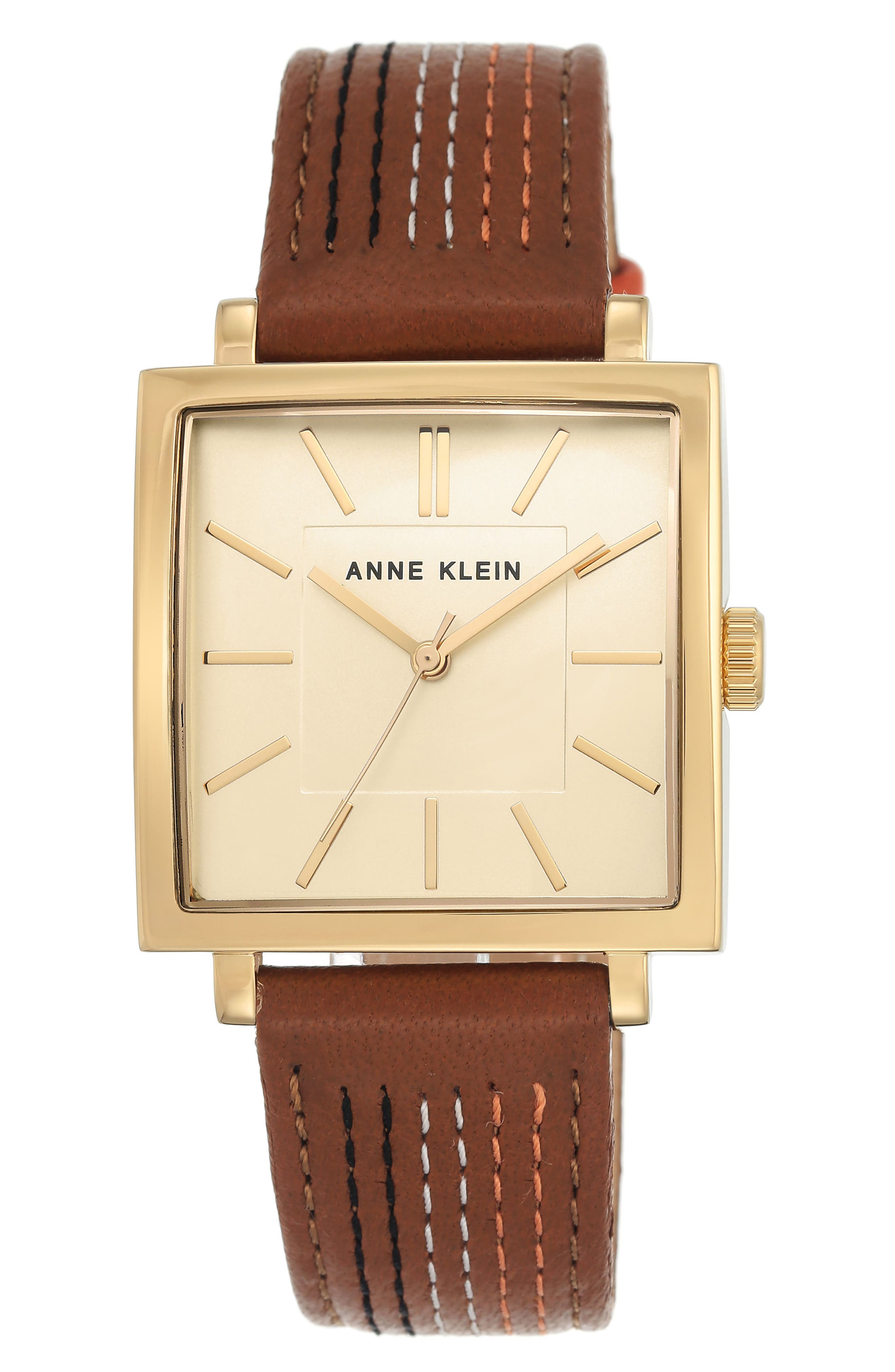 Square Leather Strap Watch, 42mm x 34mm,                             Main thumbnail 1, color,                             Brown Stitched/ Gold