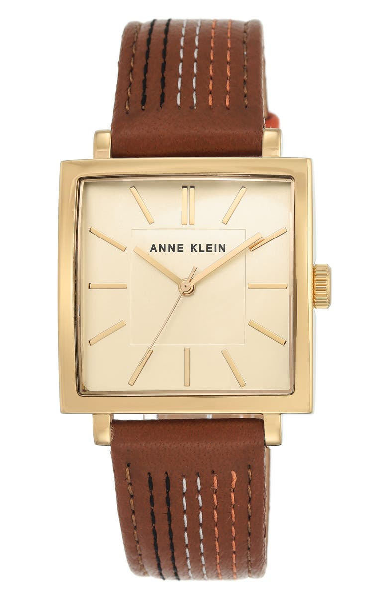 Anne klein square leather strap watch 42mm x 34mm nordstrom for Anne klein leather strap