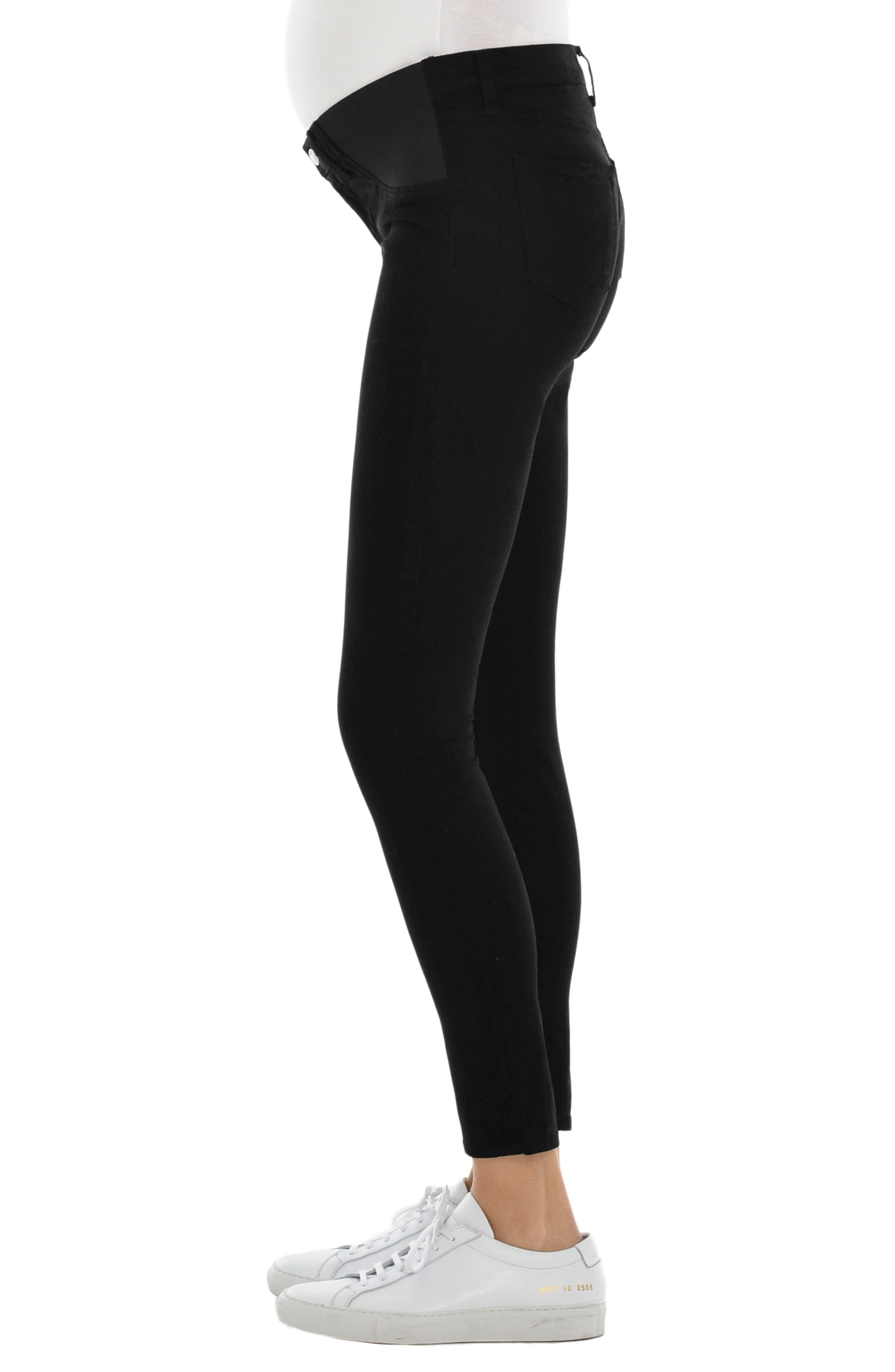 Mama J Luxe Sateen Maternity Skinny Jeans,                             Alternate thumbnail 3, color,                             Black