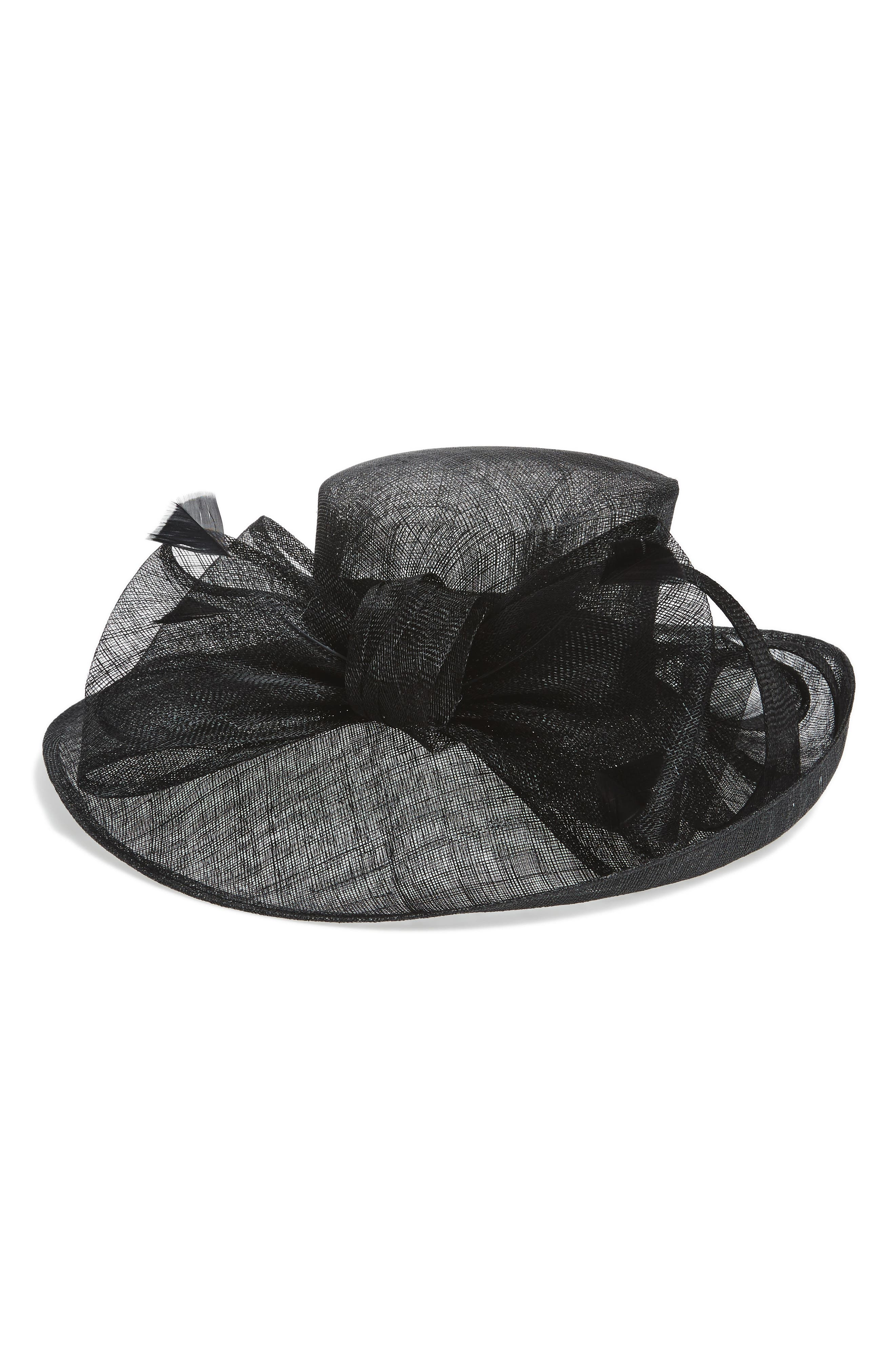 Sinamay Bow Derby Hat,                         Main,                         color, Black Combo