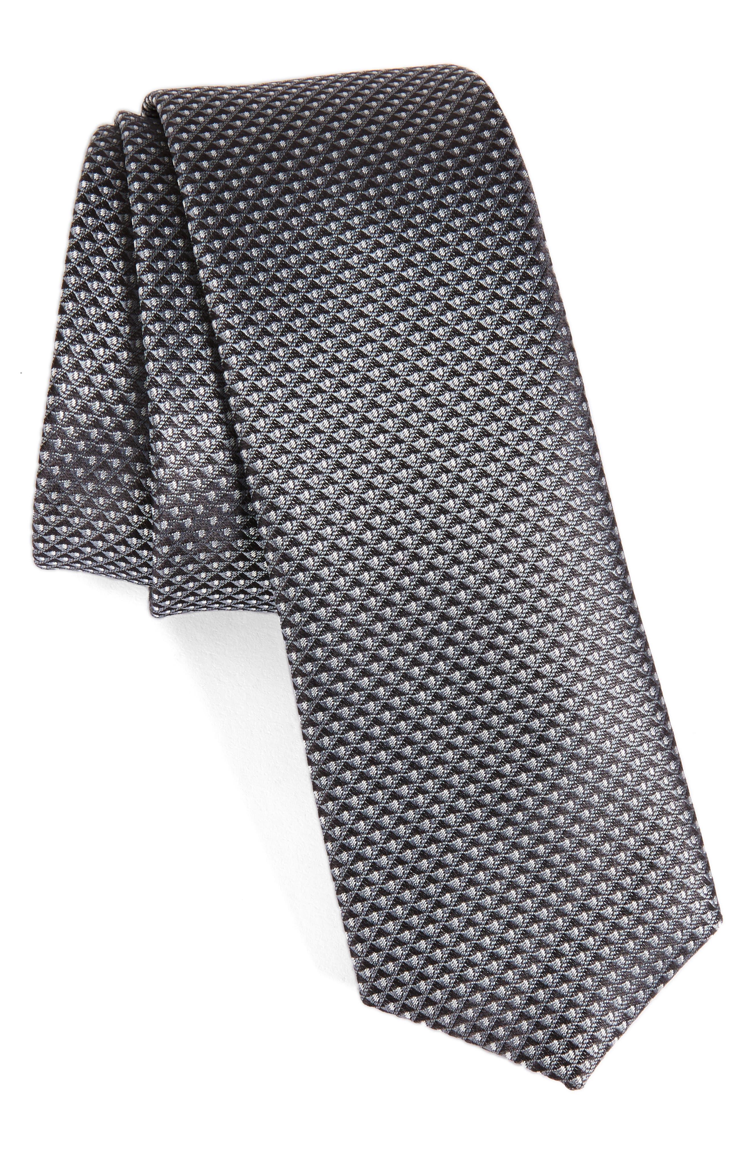 Geometric Silk Skinny Tie,                             Main thumbnail 1, color,                             Black