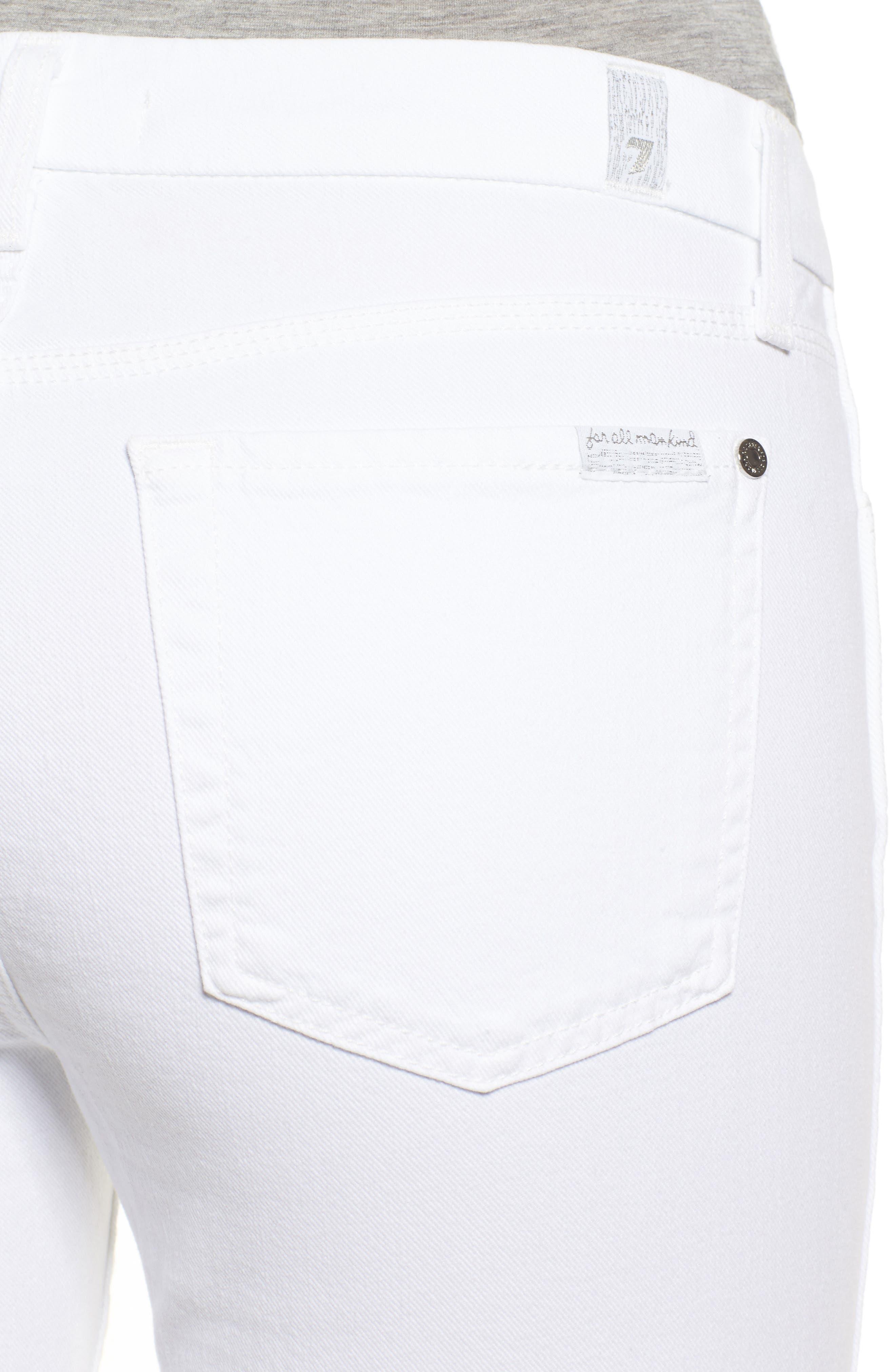 Fashion Boyfriend Raw Cuffed Jeans,                             Alternate thumbnail 4, color,                             White Fashion