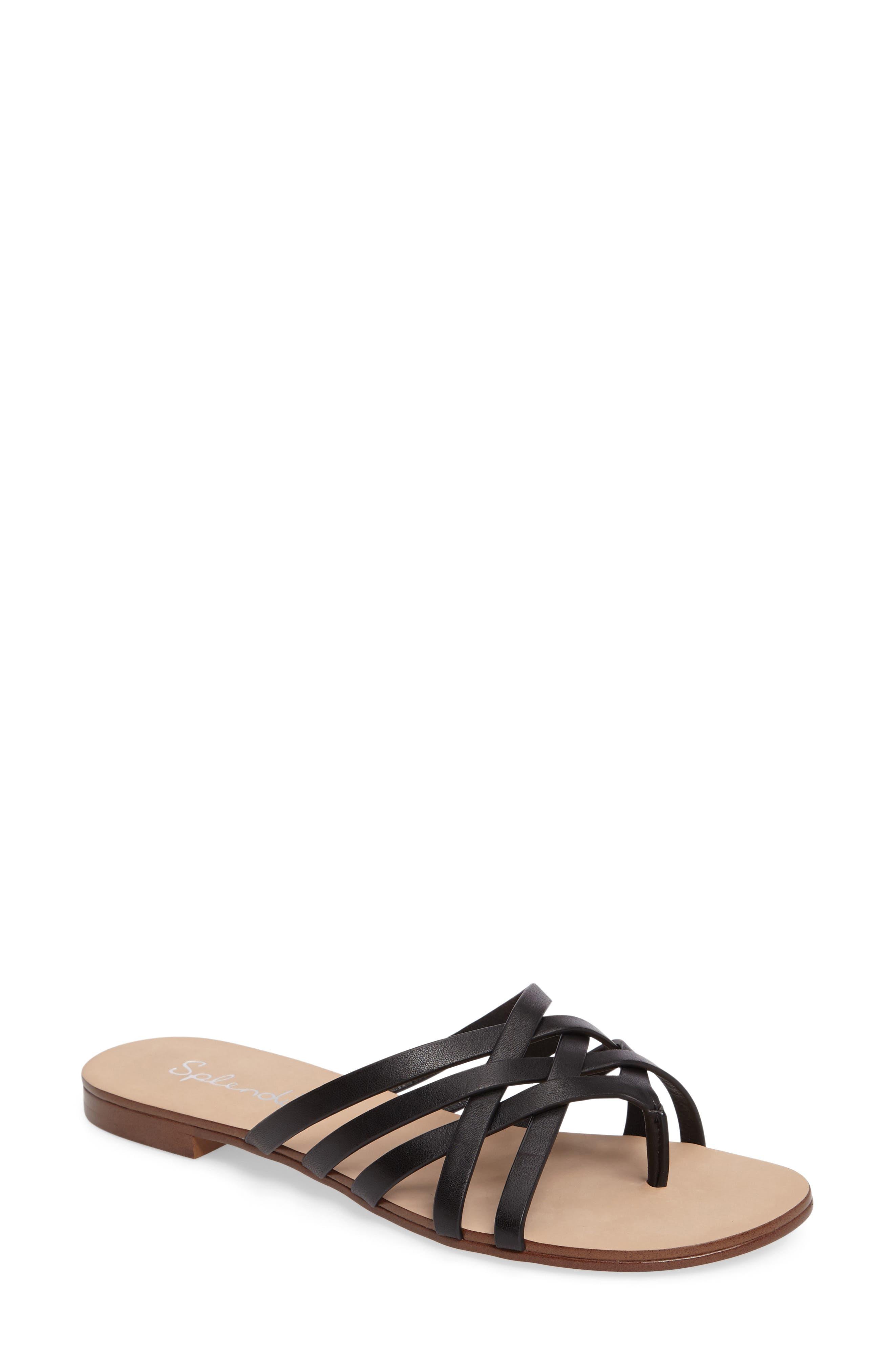 Jojo Slide Sandal,                             Main thumbnail 1, color,                             Black Leather