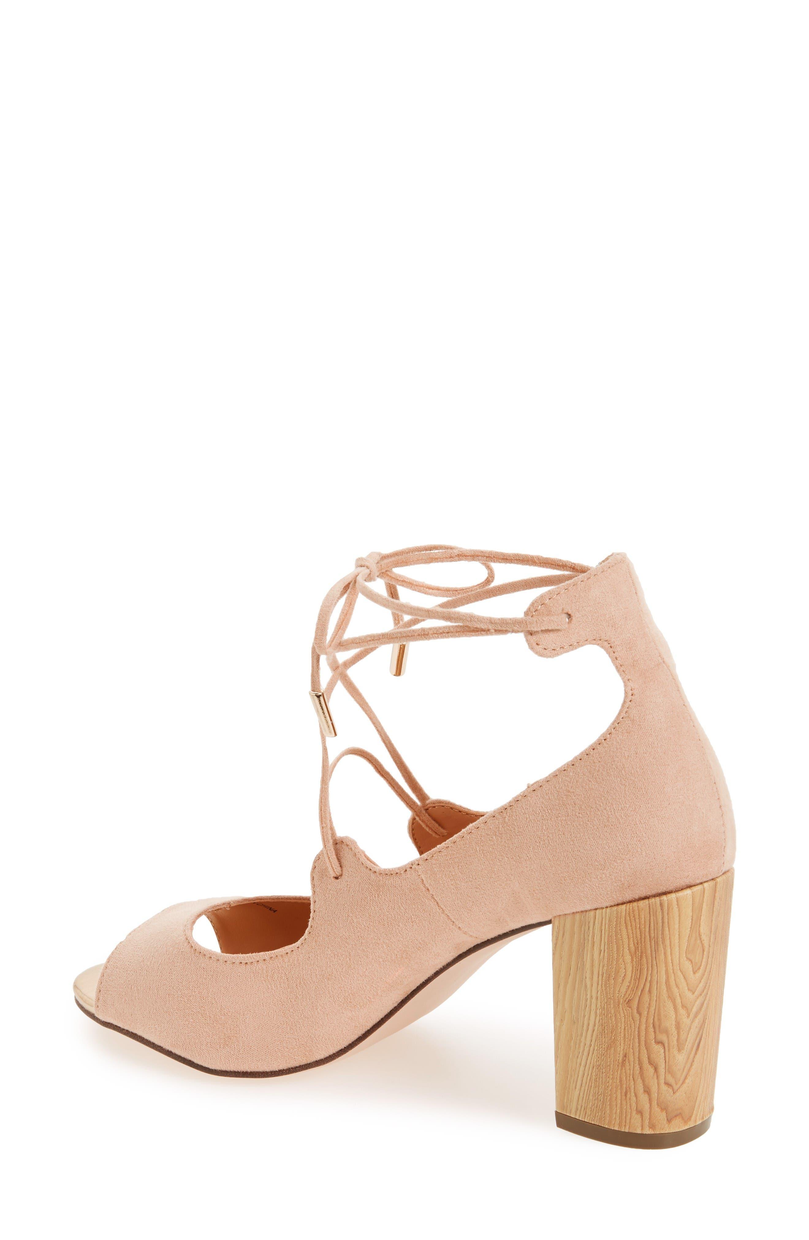Vikki Block Heel Sandal,                             Alternate thumbnail 2, color,                             Nude Faux Suede