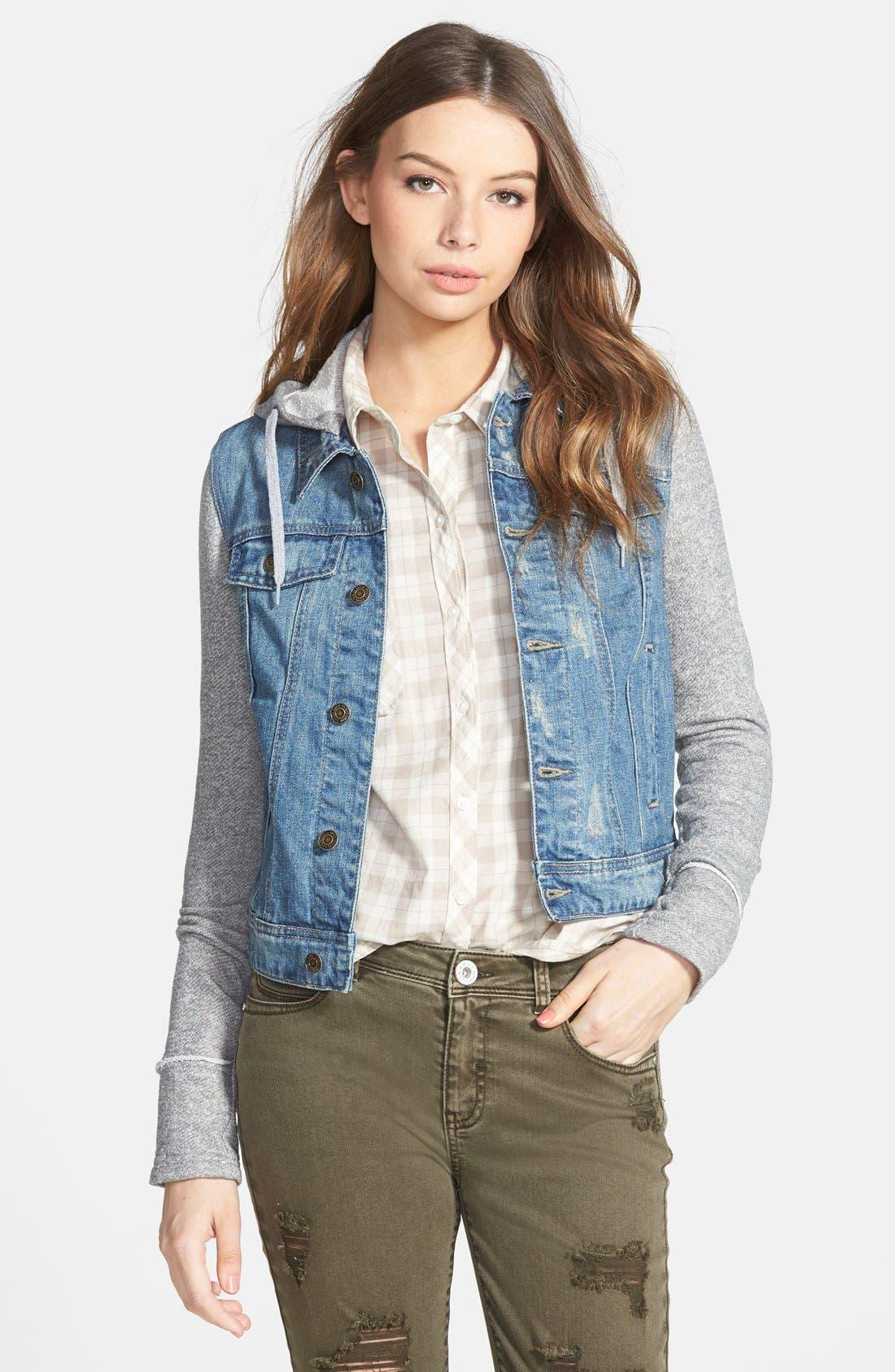 Main Image - Thread & Supply Hooded Denim Jacket with Fleece Sleeves (Juniors)