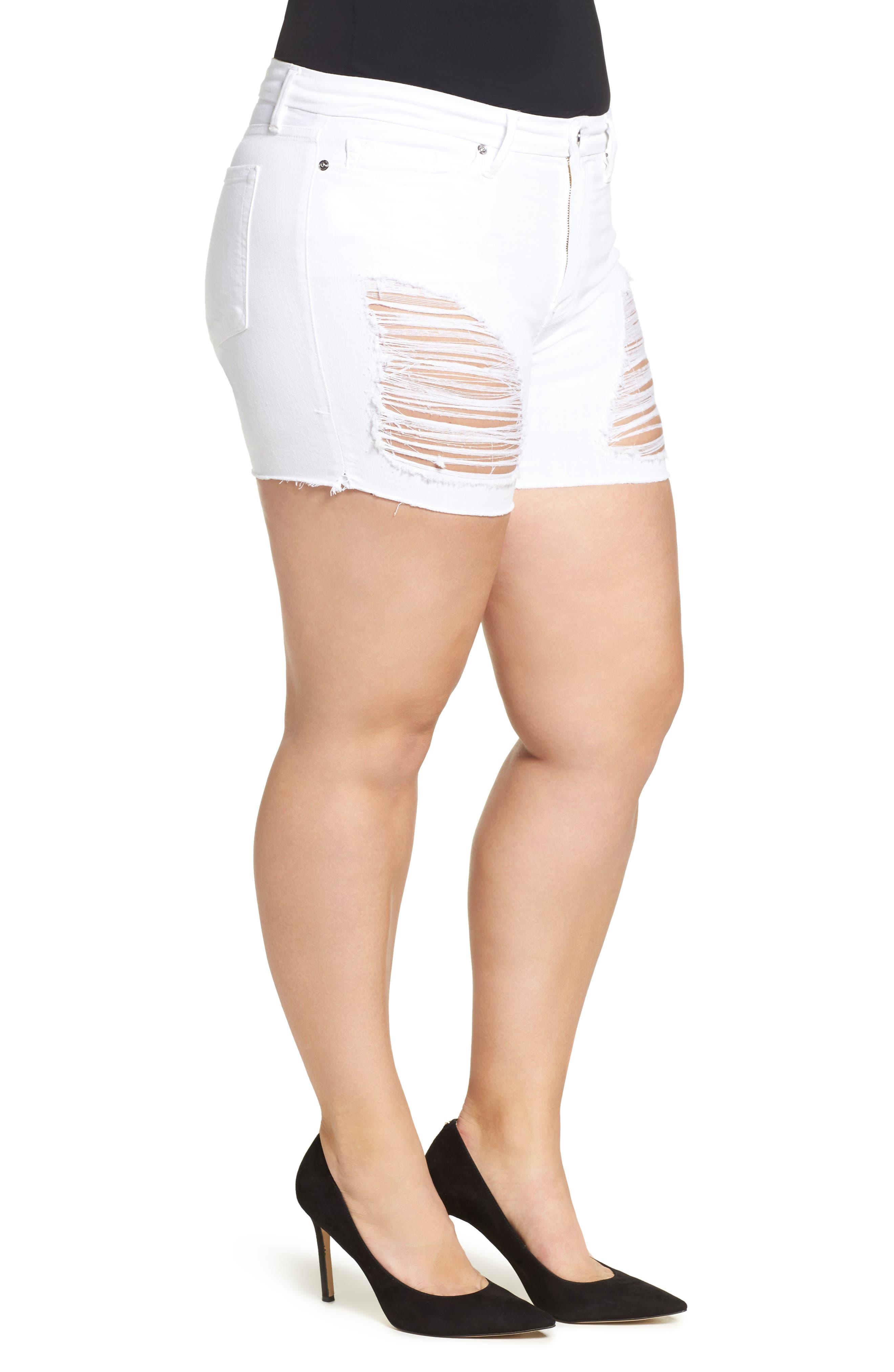 Destroyed Cutoff Denim Shorts,                             Alternate thumbnail 9, color,                             White 004