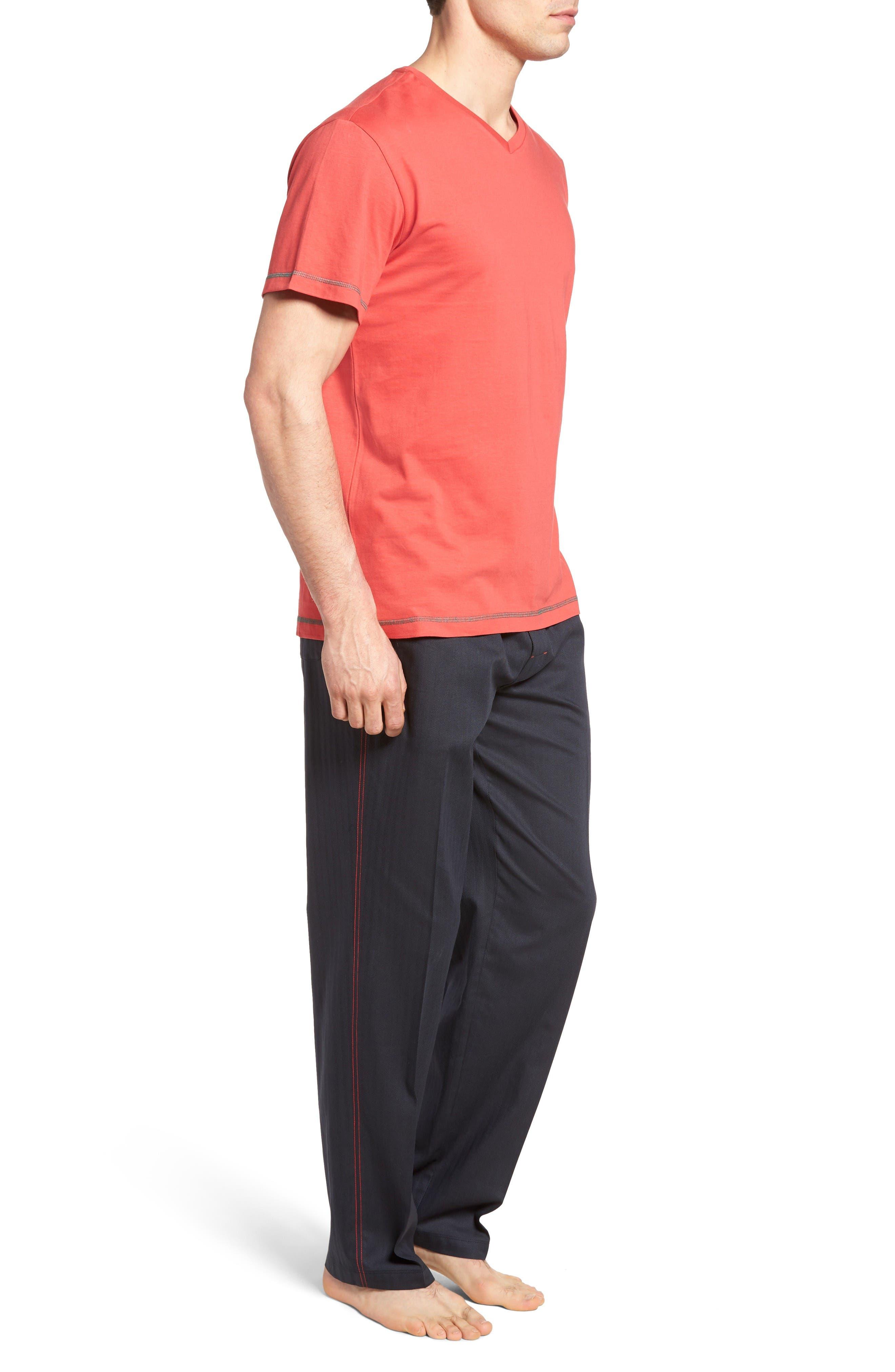 Fusion Pajama Set,                             Alternate thumbnail 3, color,                             Red/ Lead