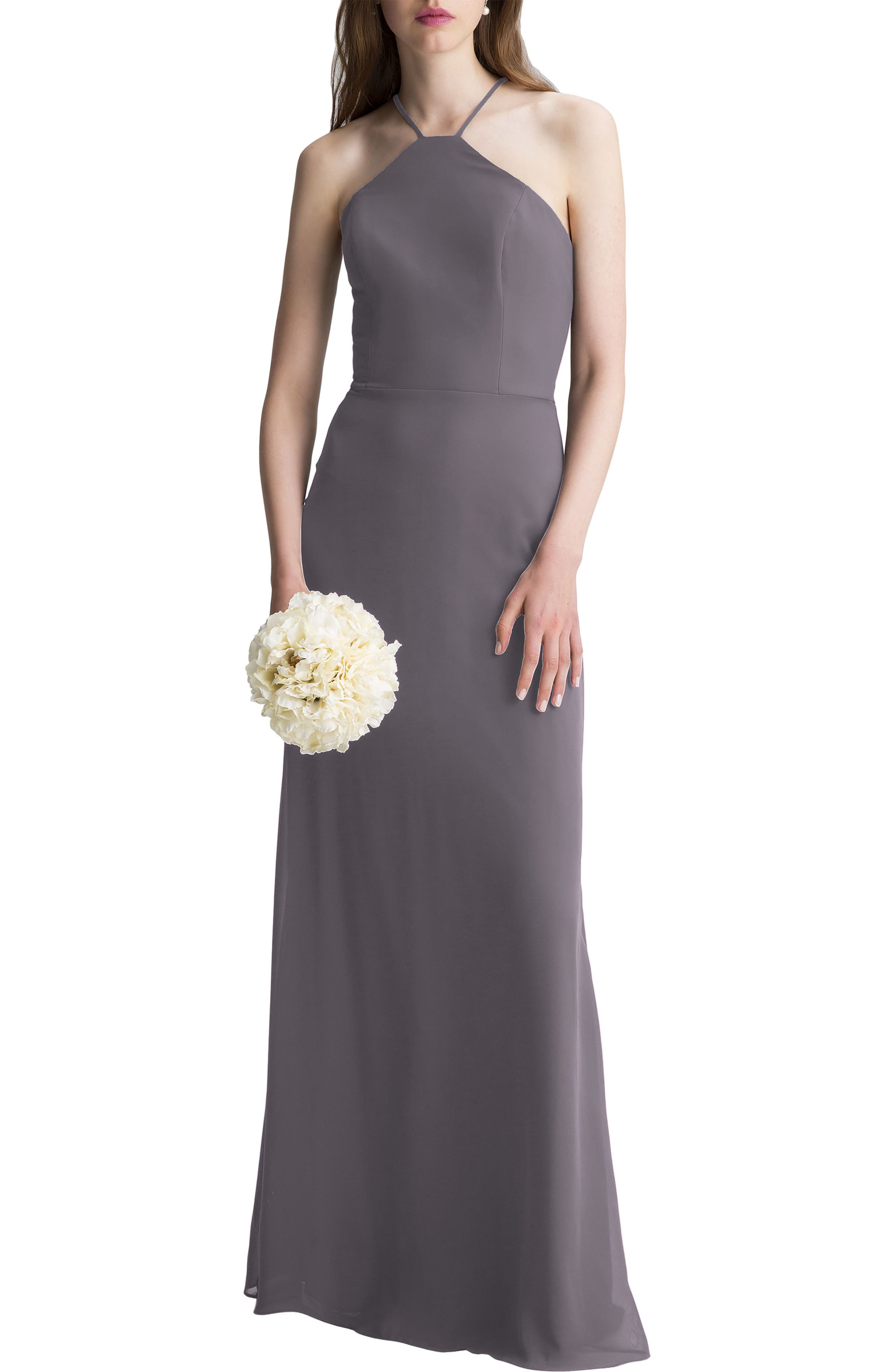 High Neck Chiffon A-Line Gown,                             Main thumbnail 1, color,                             Heather