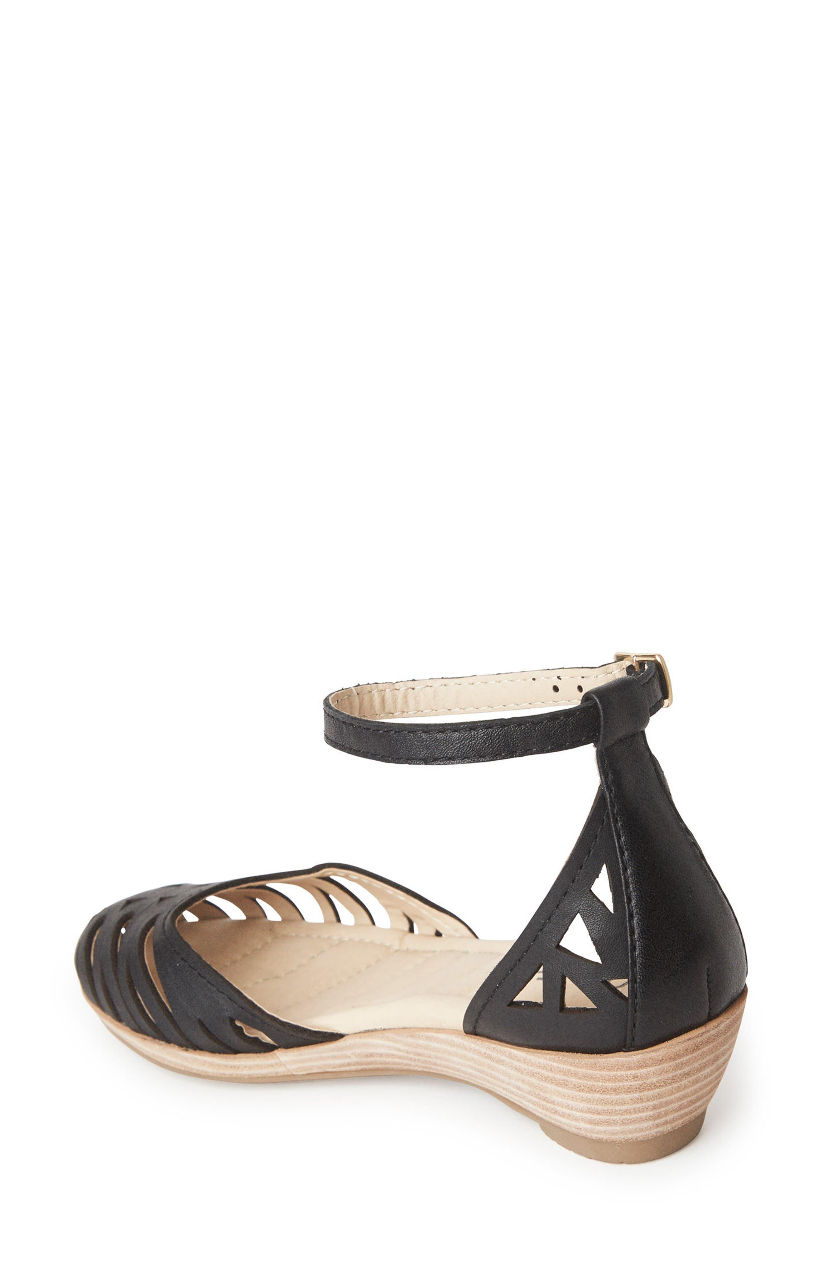 Nalani Ankle Strap Sandal,                             Alternate thumbnail 2, color,                             Black Leather