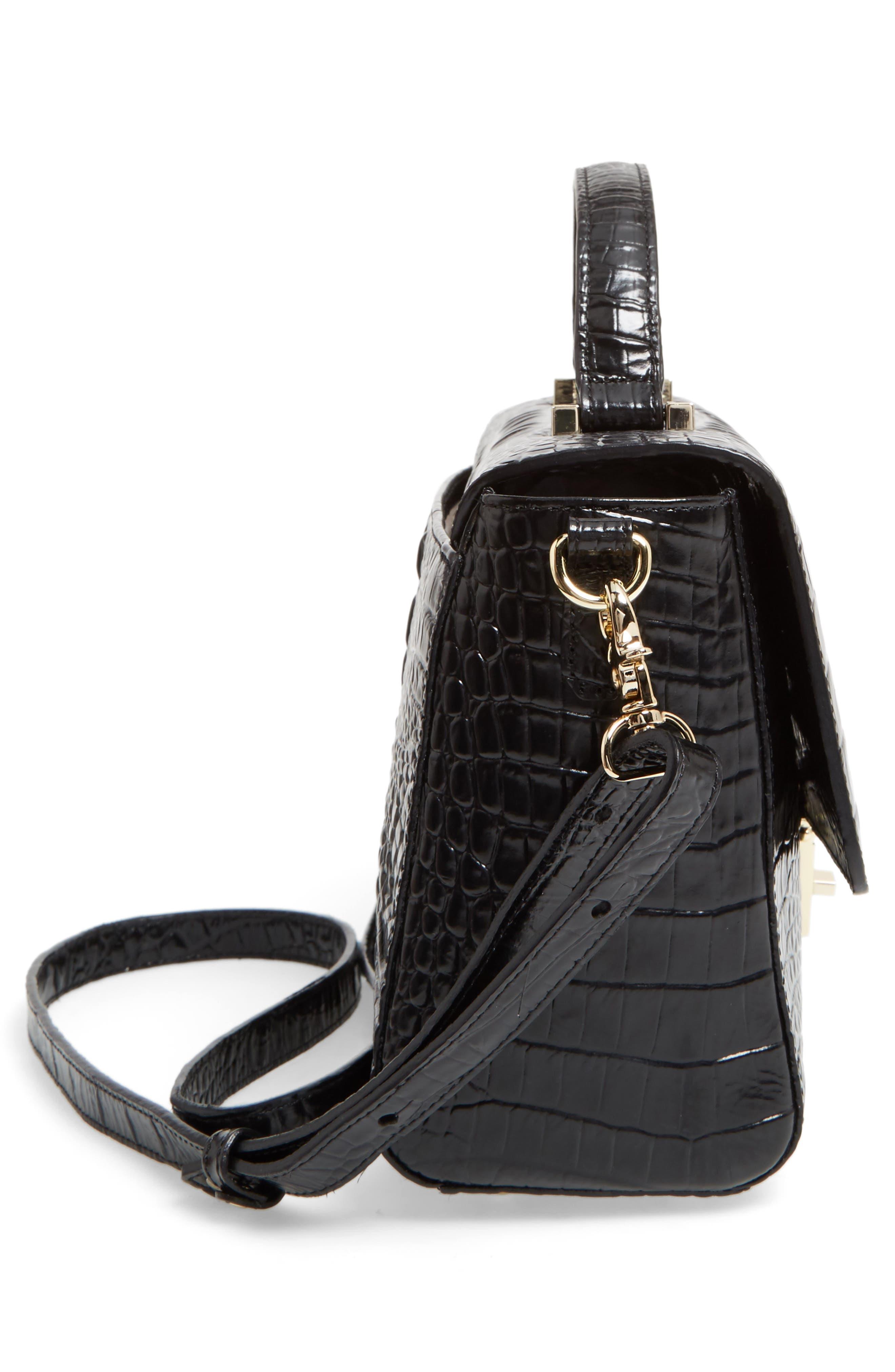 Danielle Leather Top Handle Satchel,                             Alternate thumbnail 5, color,                             Black