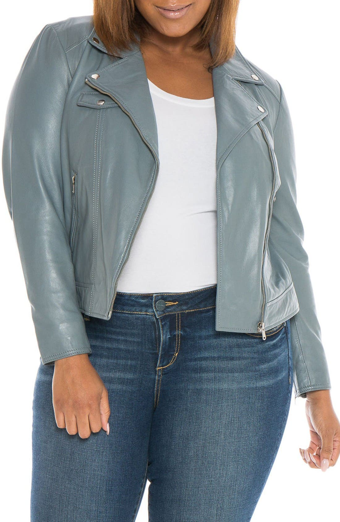 Main Image - SLINK Jeans Crop Leather Moto Jacket (Plus)