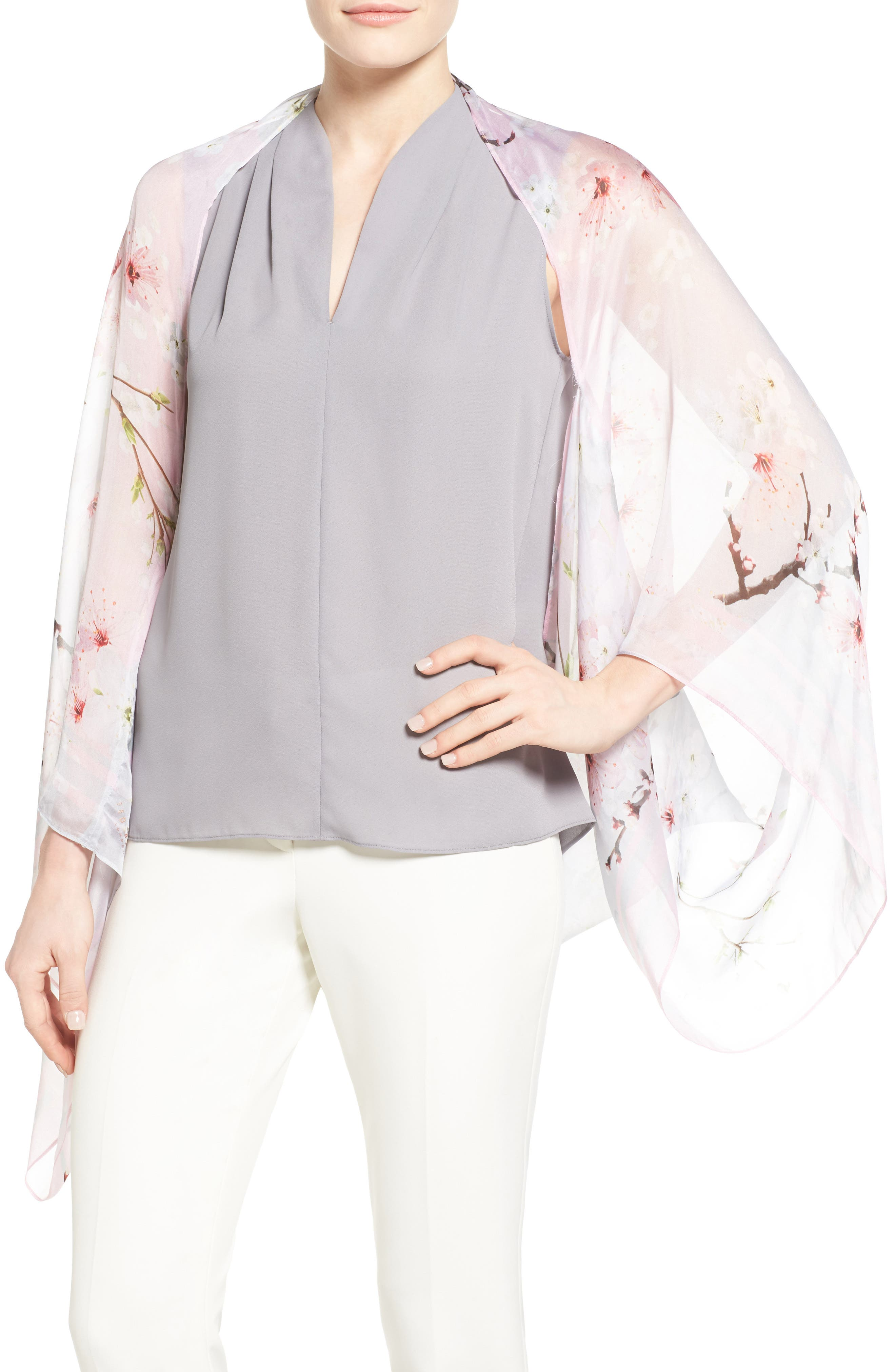 Ted Baker London Floral Print Silk Cape Scarf