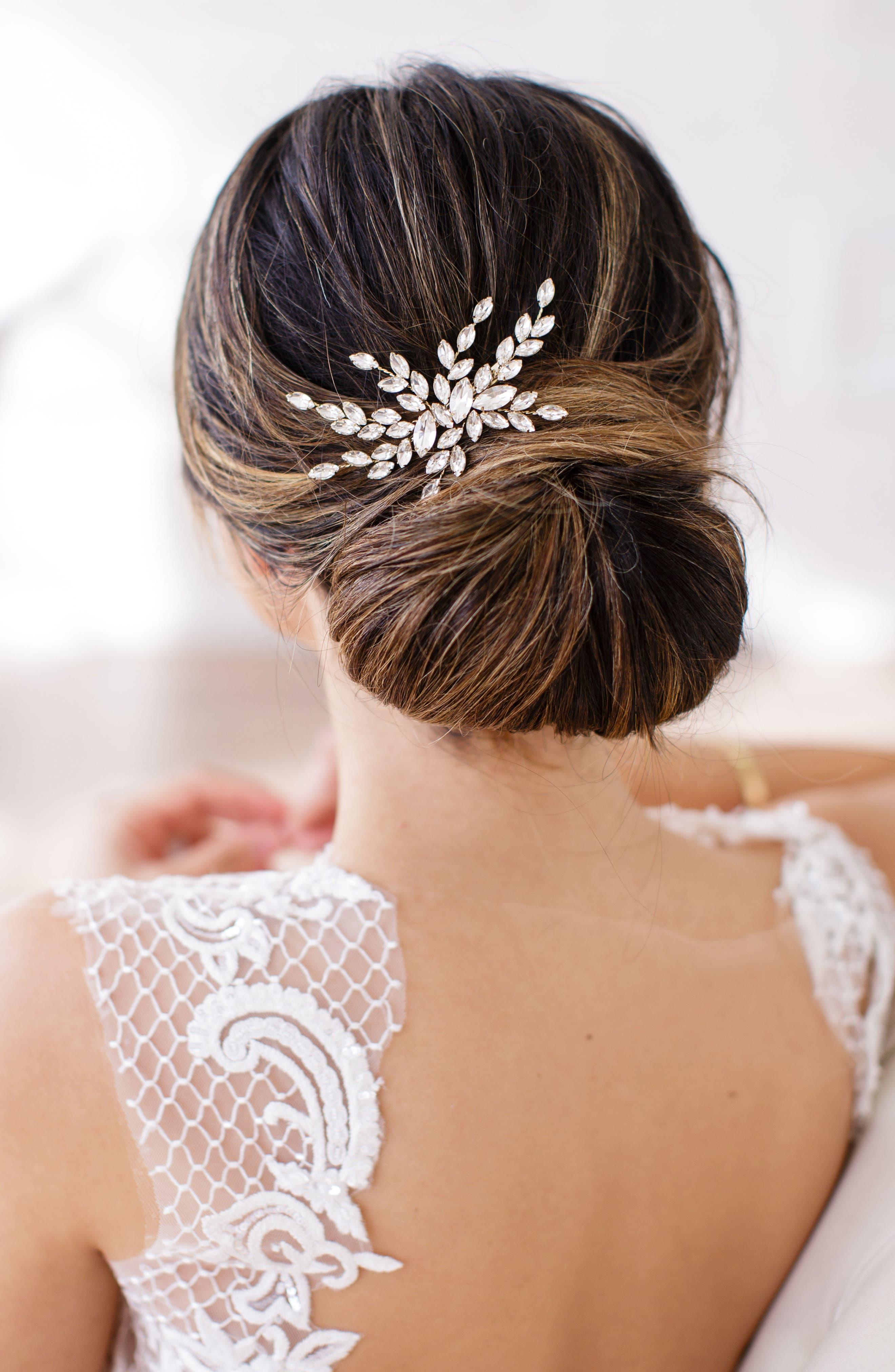 Isadora Crystal Hair Clip,                         Main,                         color, Gold