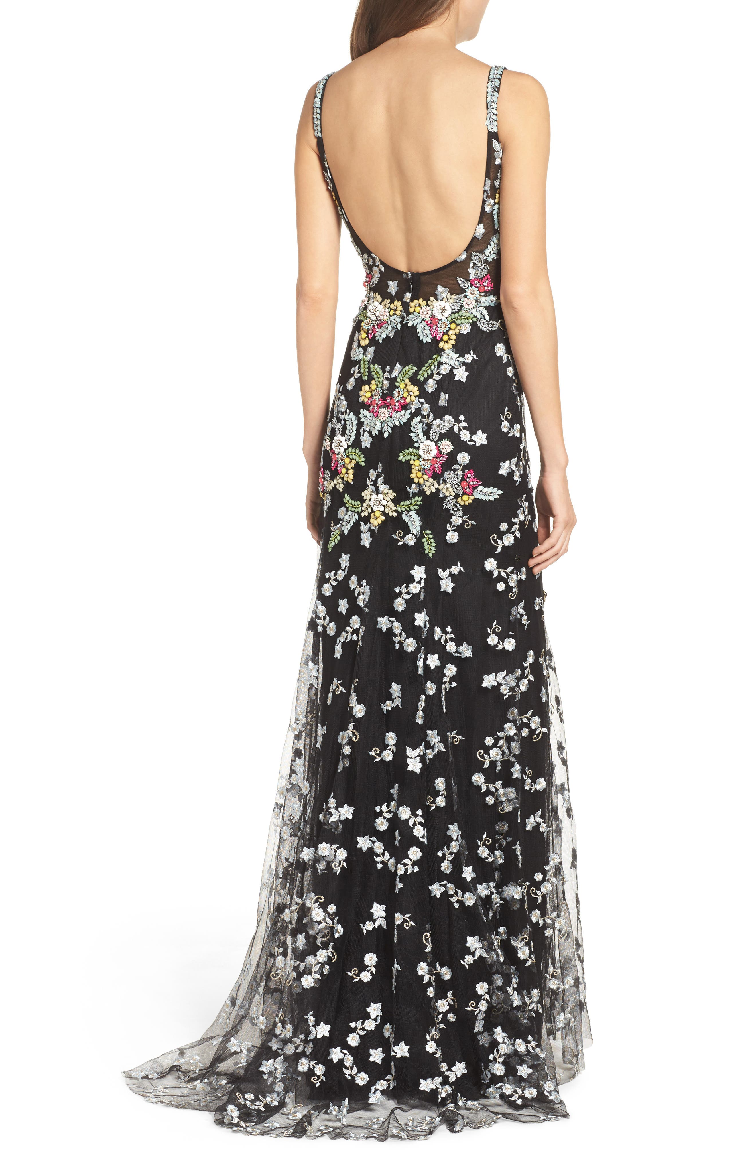 Embroidered Mesh Gown,                             Alternate thumbnail 2, color,                             Black/ Multi