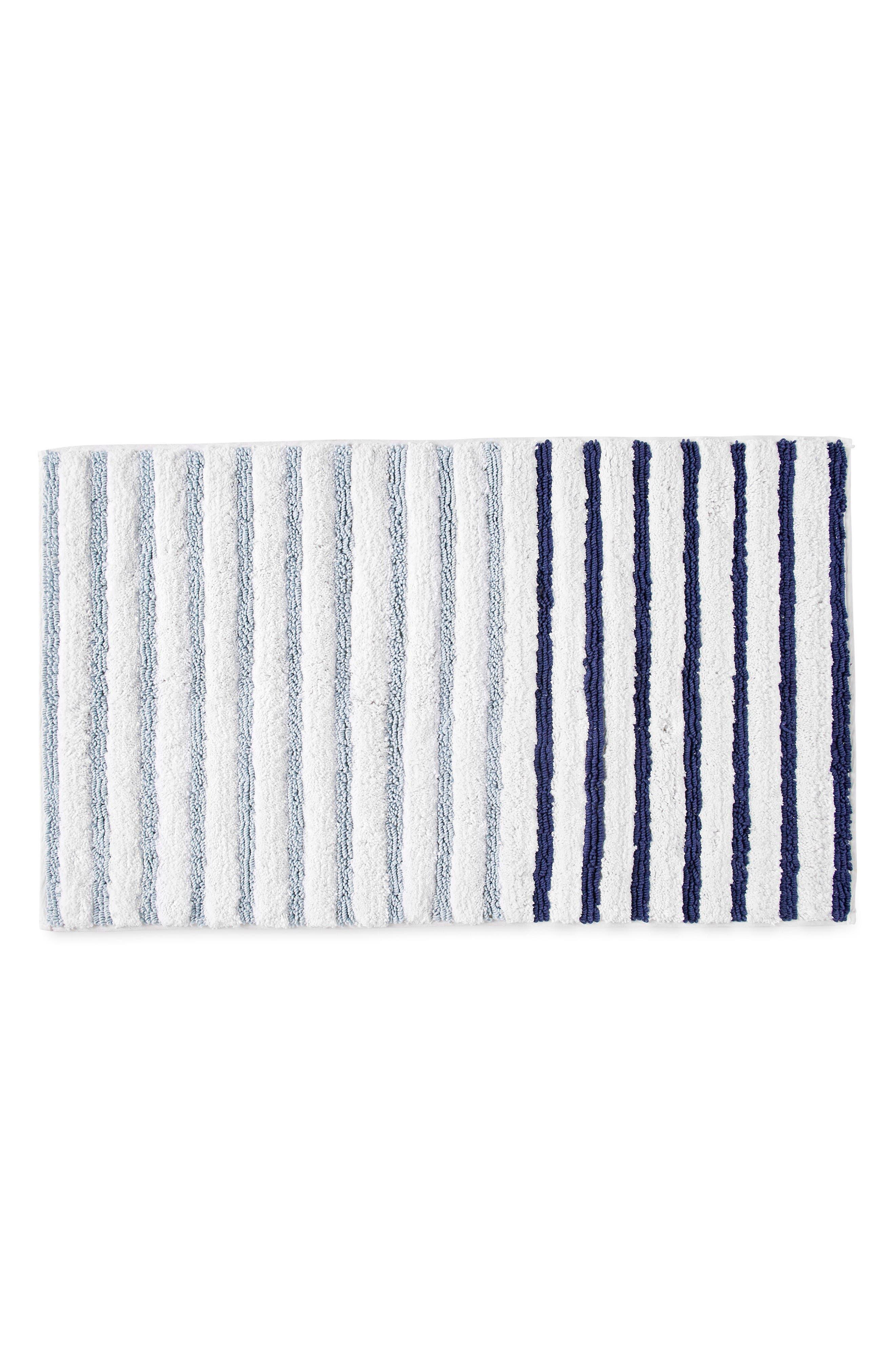 Parson Stripe Bath Rug,                             Main thumbnail 1, color,                             Blue Aire