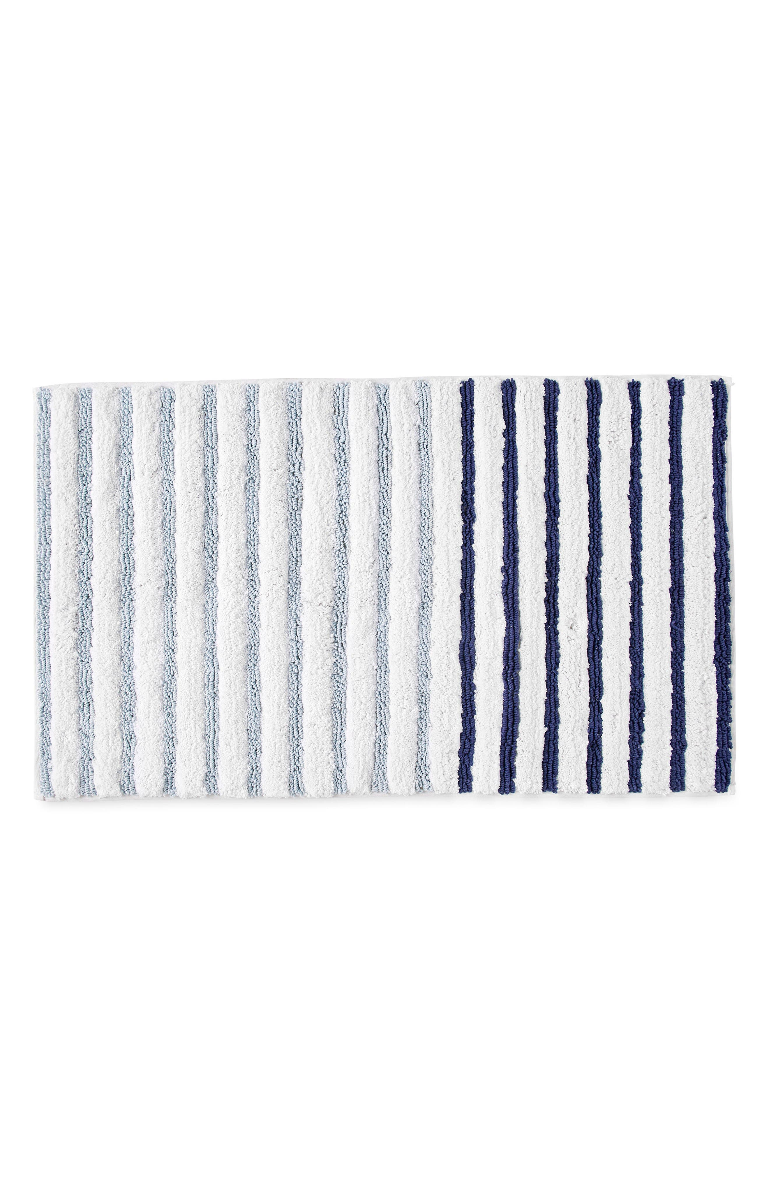 Parson Stripe Bath Rug,                         Main,                         color, Blue Aire