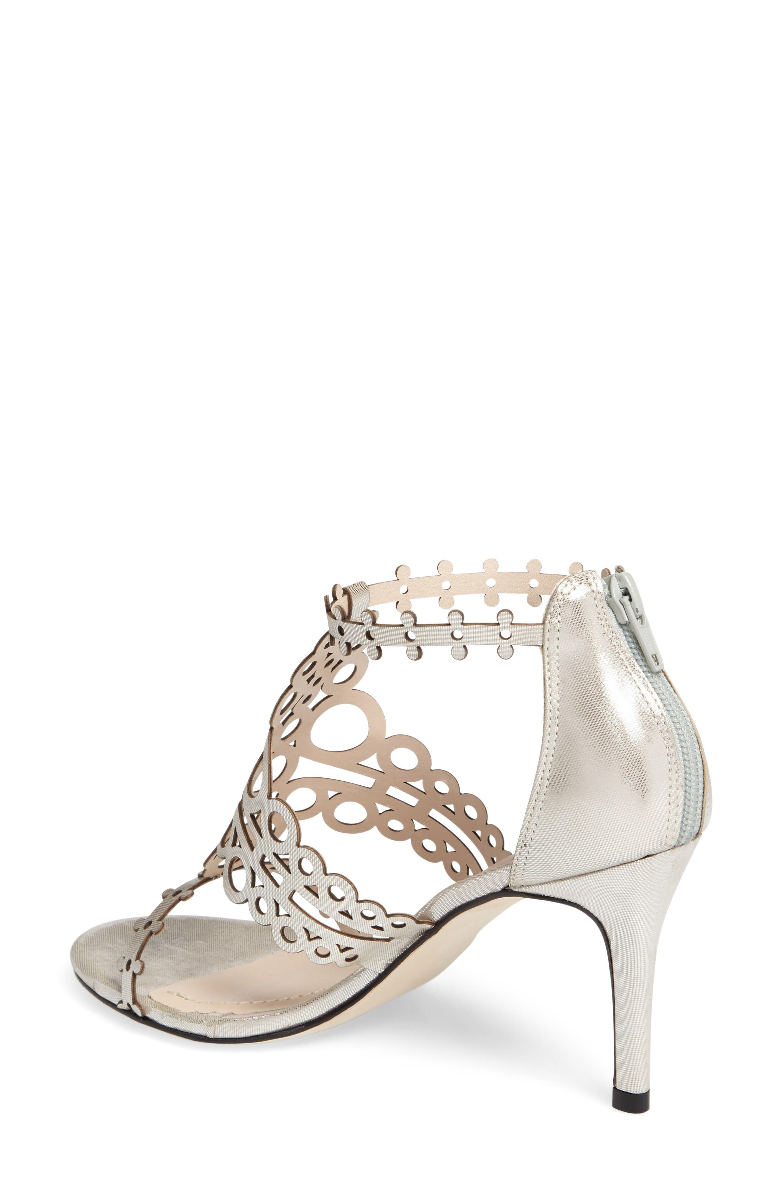 'Antonia' Laser Cut T-Strap Sandal,                             Alternate thumbnail 2, color,                             Silver Leather