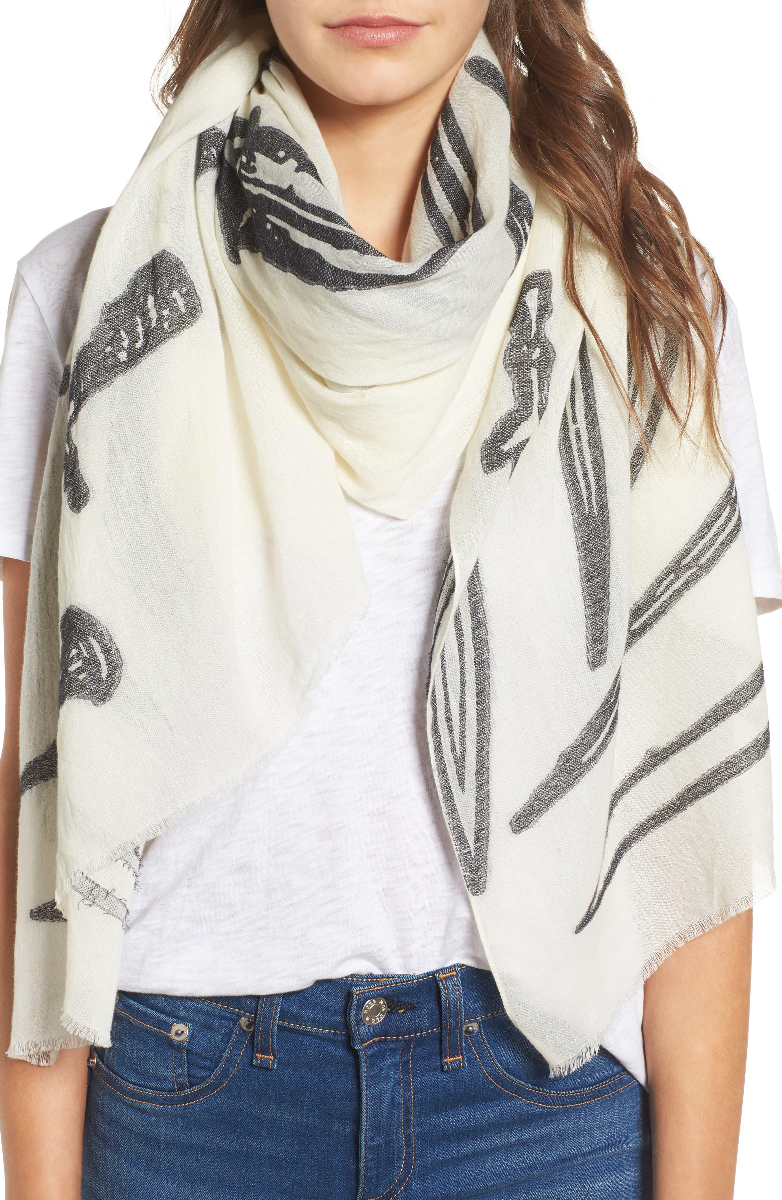 dagger print scarf,                         Main,                         color, Ivory Multi