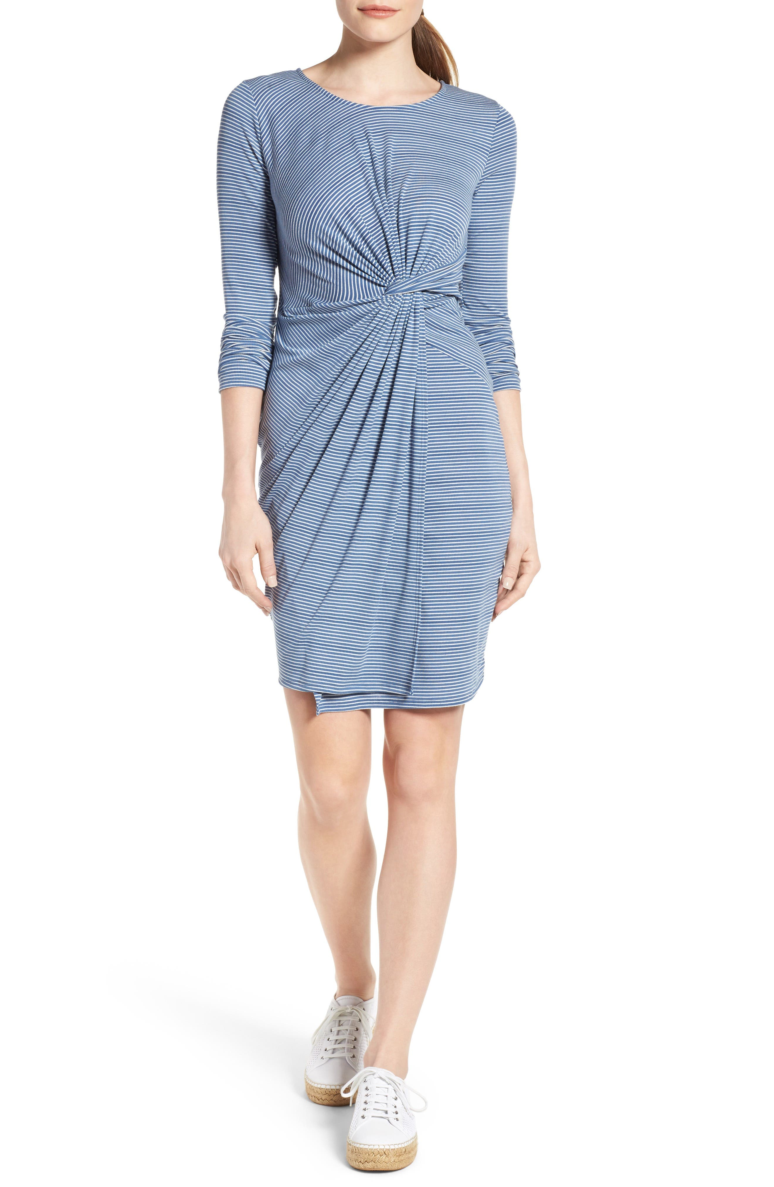 Alternate Image 1 Selected - Loveappella Stripe Twist Front Body-Con Dress (Petite)