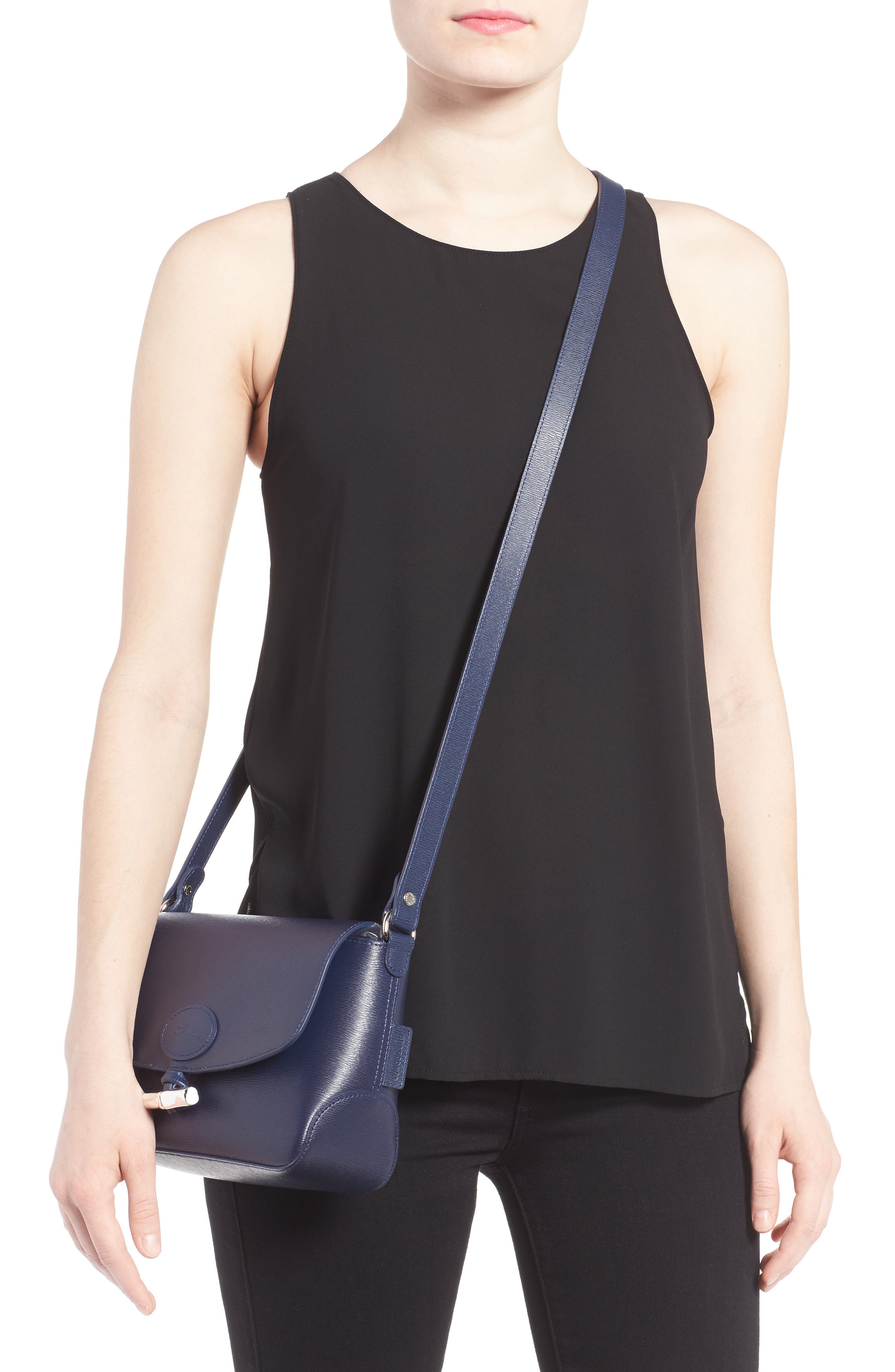 Roseau Leather Crossbody Bag,                             Alternate thumbnail 2, color,                             Navy