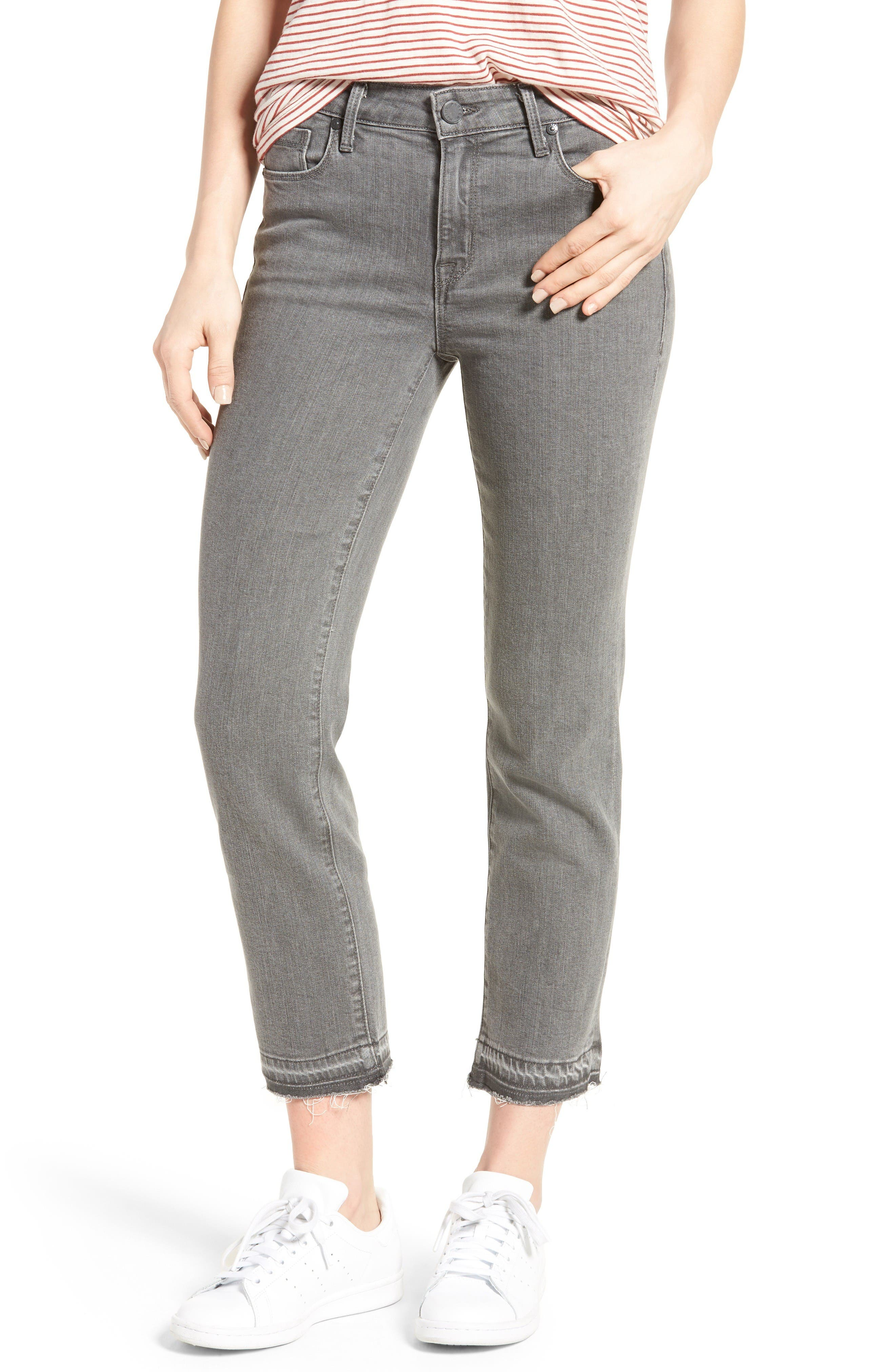 Main Image - PARKER SMITH Frayed Release Hem Crop Straight Leg Jeans (Chrome)