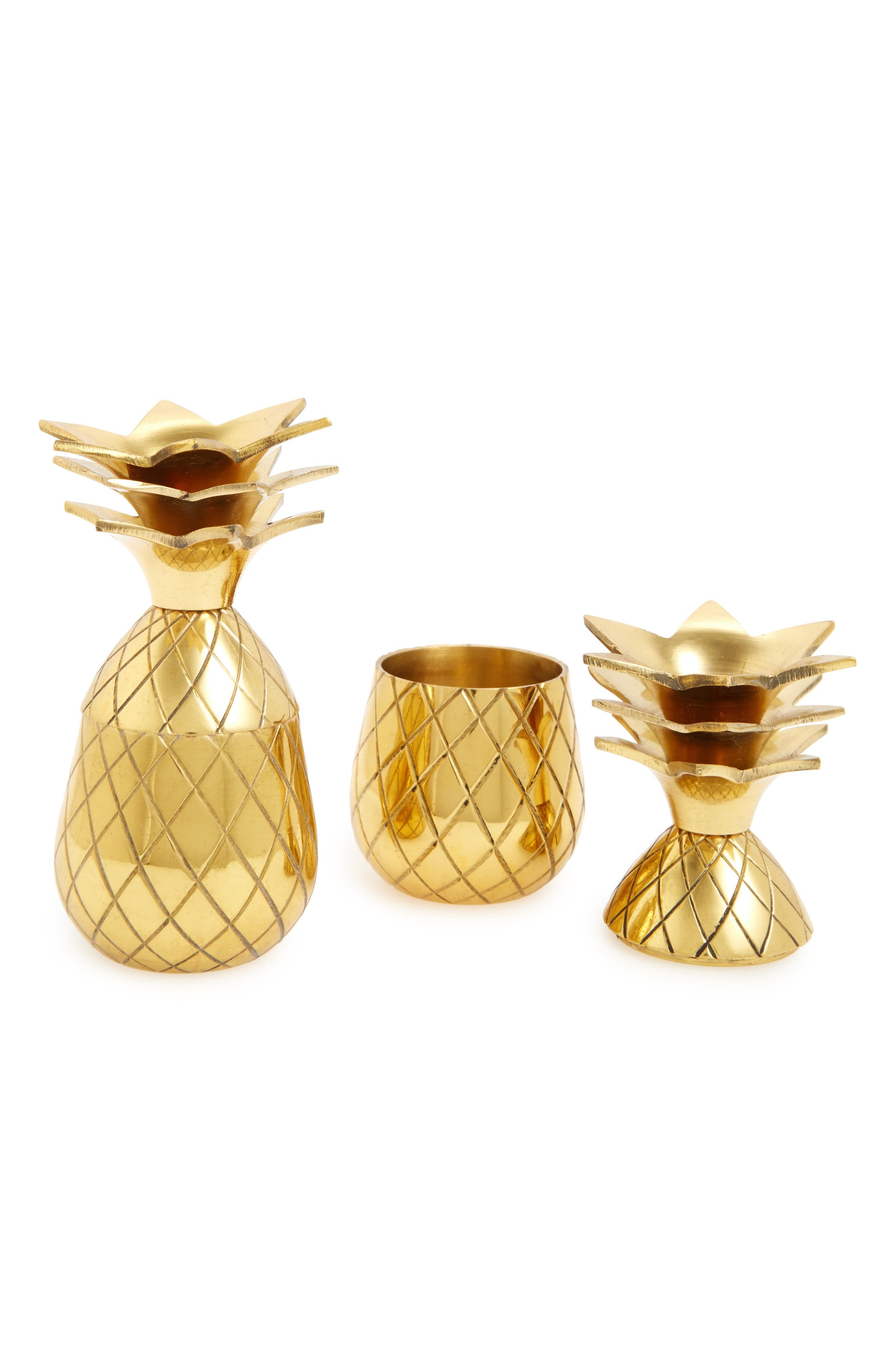 Pineapple Shot Glasses,                         Main,                         color, Gold
