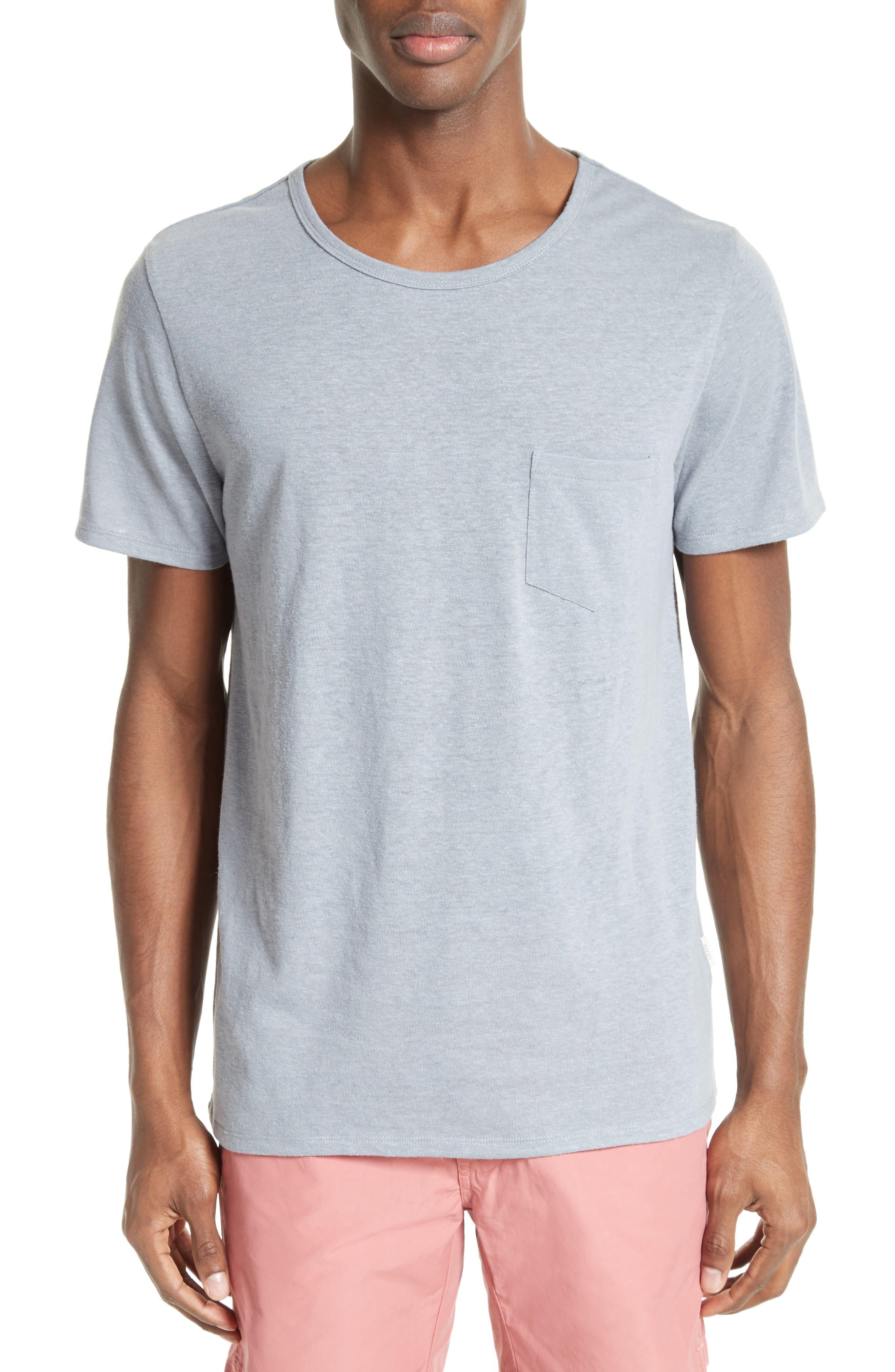 Chad Linen Blend Pocket T-Shirt,                         Main,                         color, Storm
