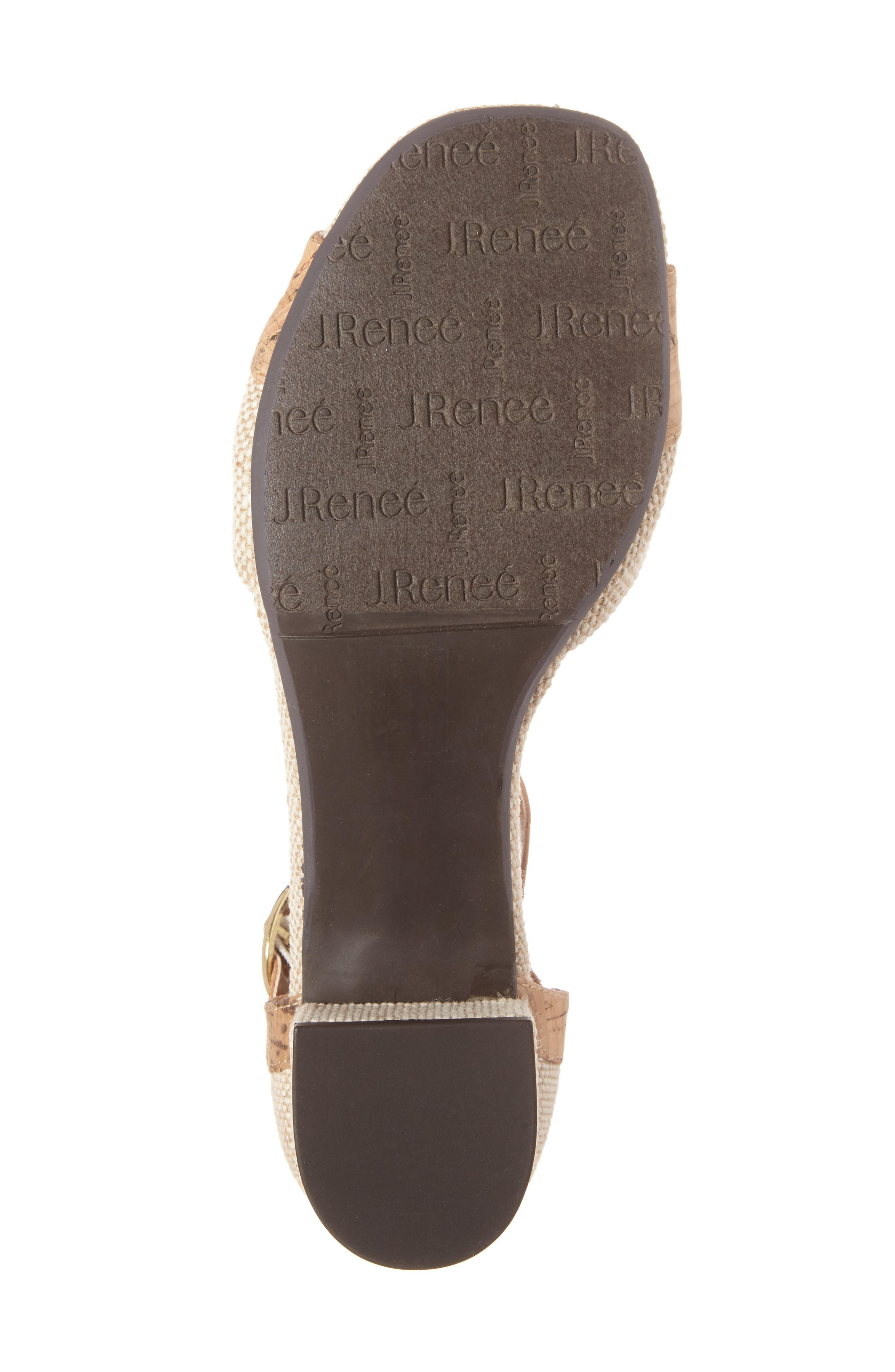 Pebblebeach Block Heel Sandal,                             Alternate thumbnail 4, color,                             Natural/ Cork Fabric