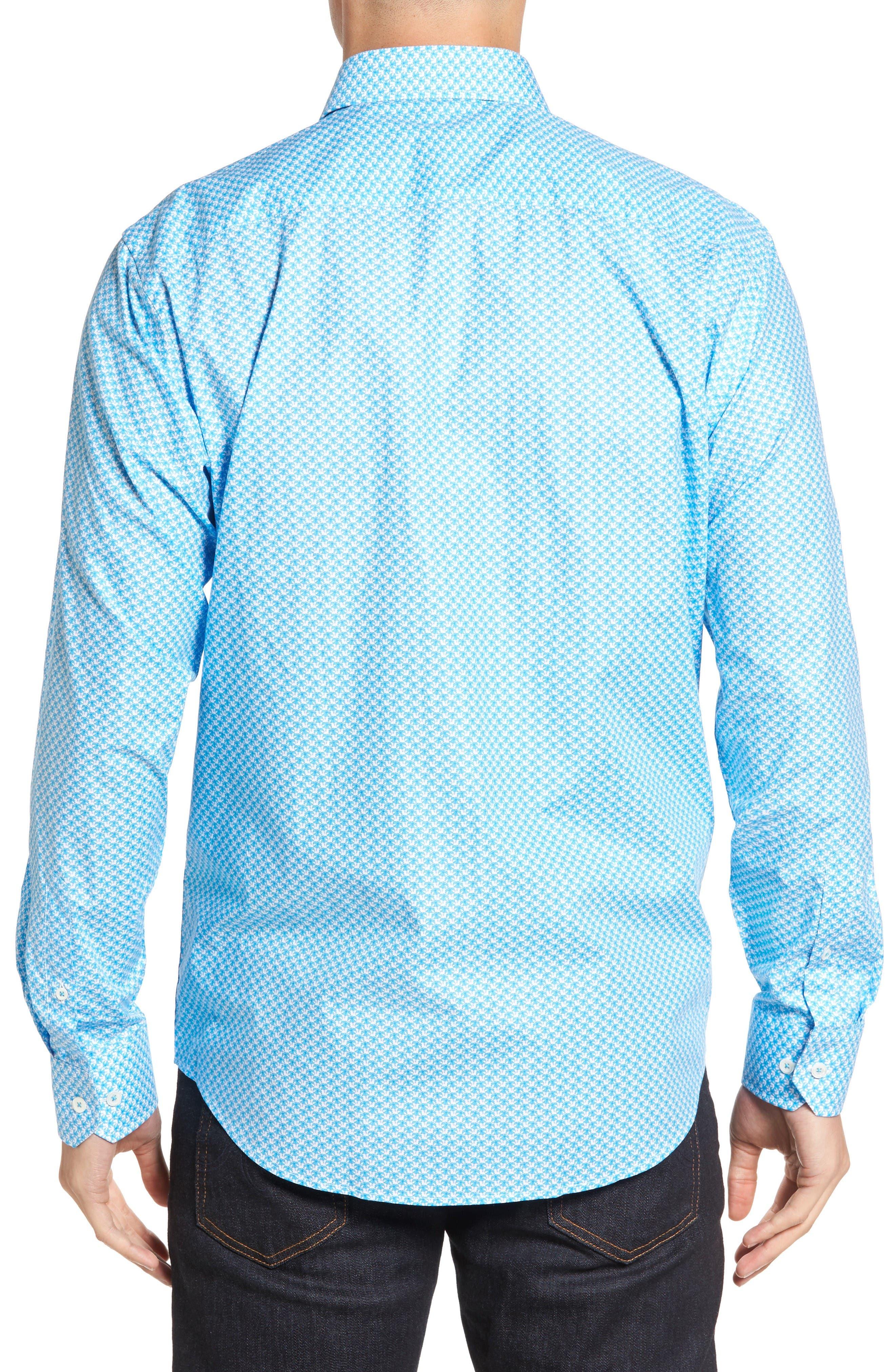 Classic Fit Umbrella Print Sport Shirt,                             Alternate thumbnail 2, color,                             Turquoise