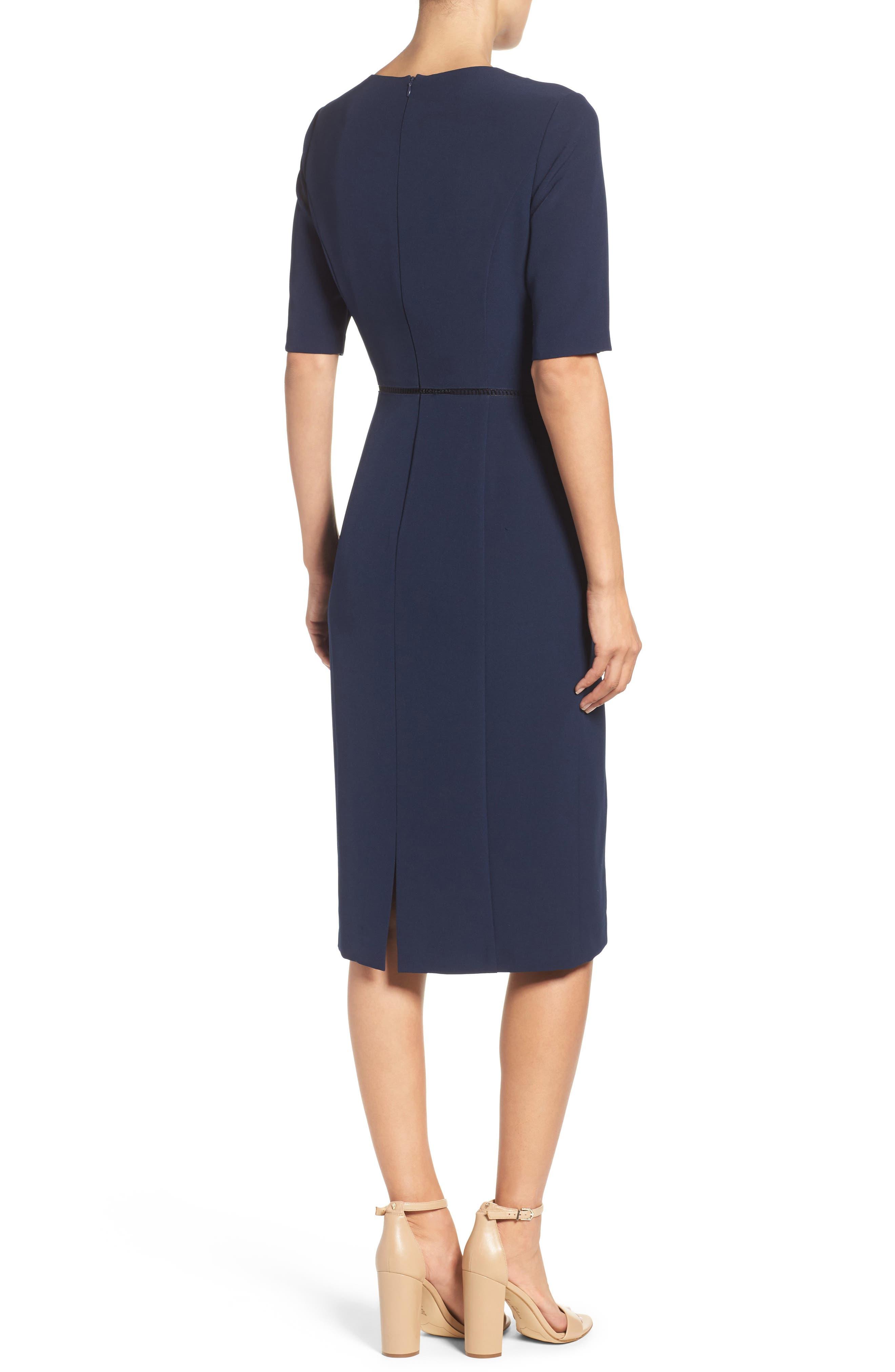 Solid Dream Crepe Dress,                             Alternate thumbnail 2, color,                             Patriot Blue