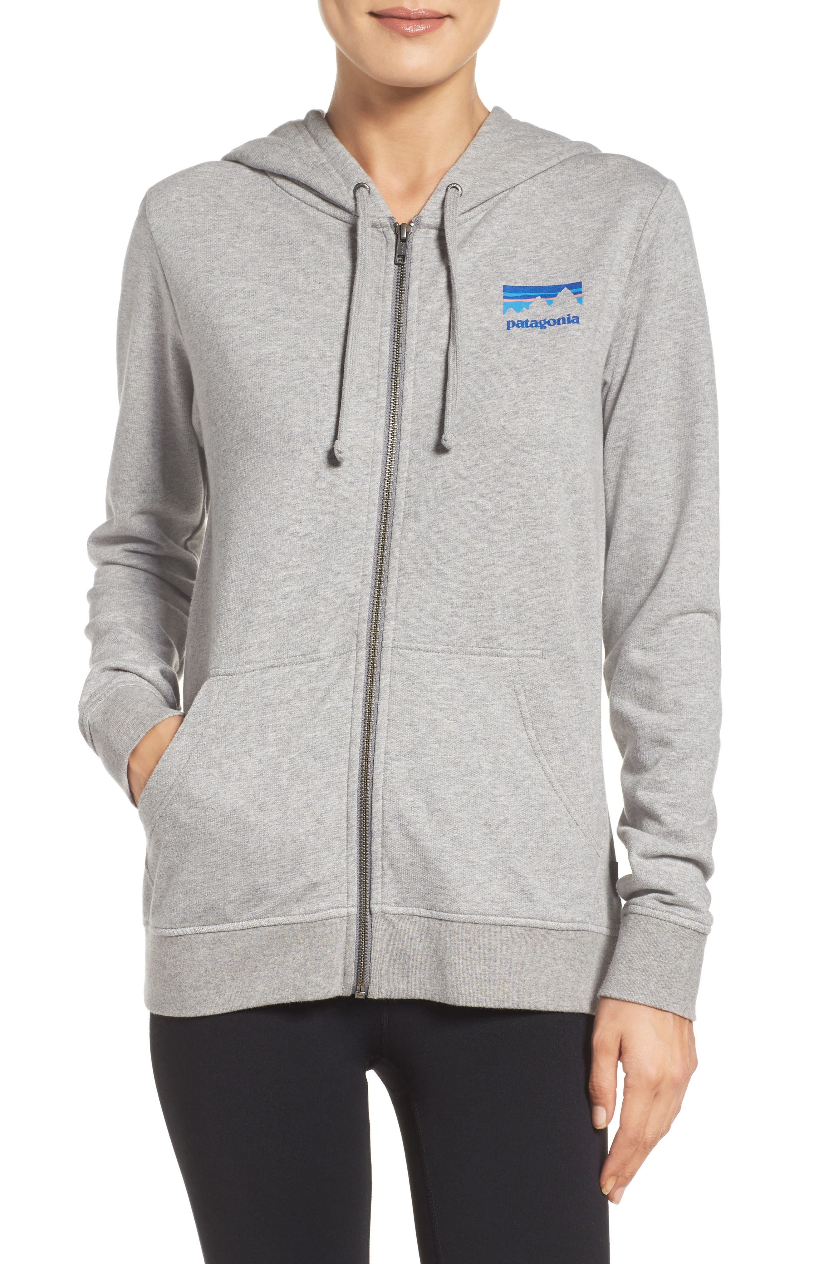 Shop Sticker Zip Hoodie,                             Main thumbnail 1, color,                             Feather Grey