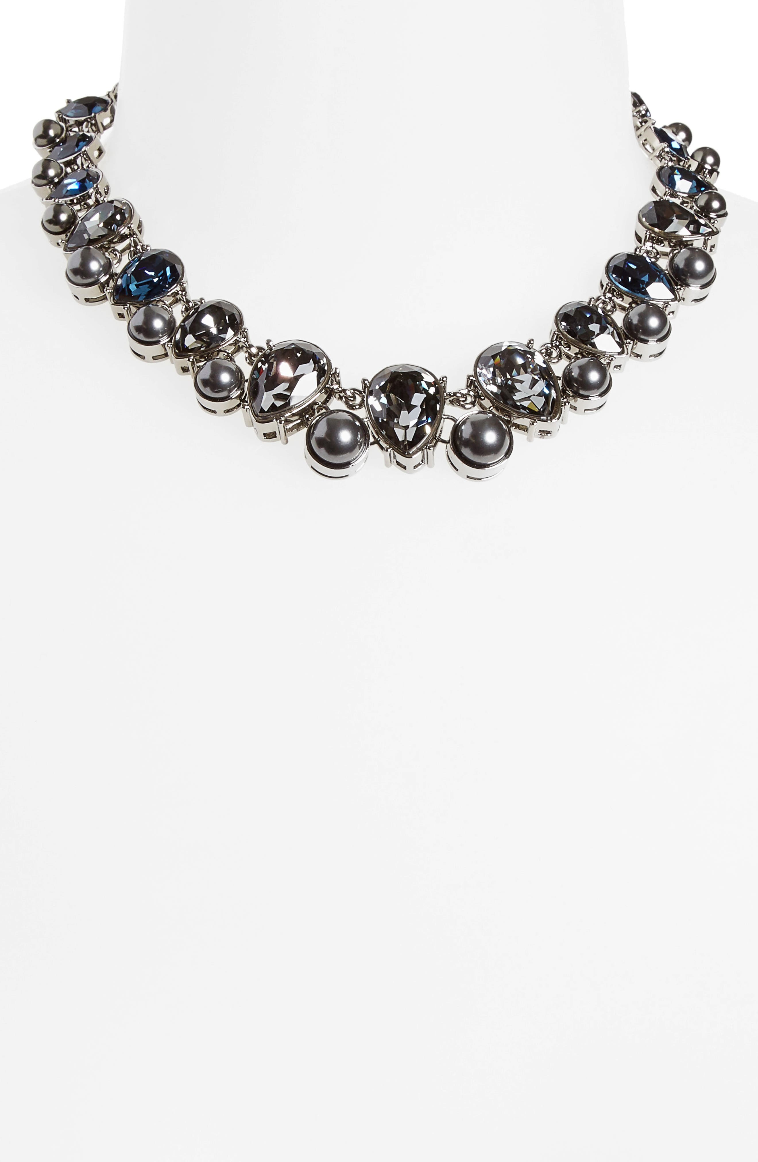 Swarovski Crystal & Imitation Pearl Necklace,                             Alternate thumbnail 2, color,                             Drk Ruth/Crys Blk Prl/Csn/Mont