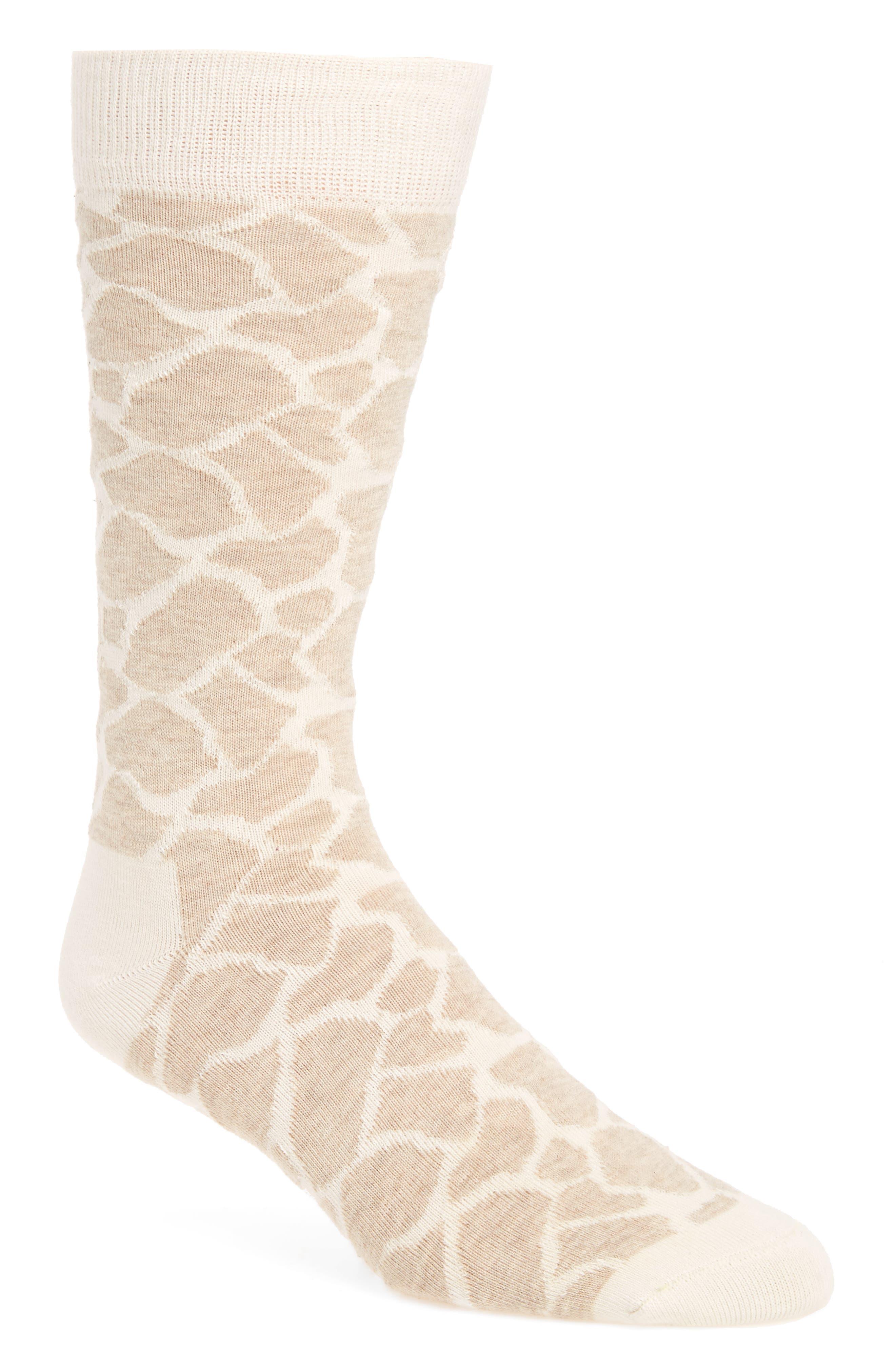 Giraffe Print Socks,                         Main,                         color, Beige/ White
