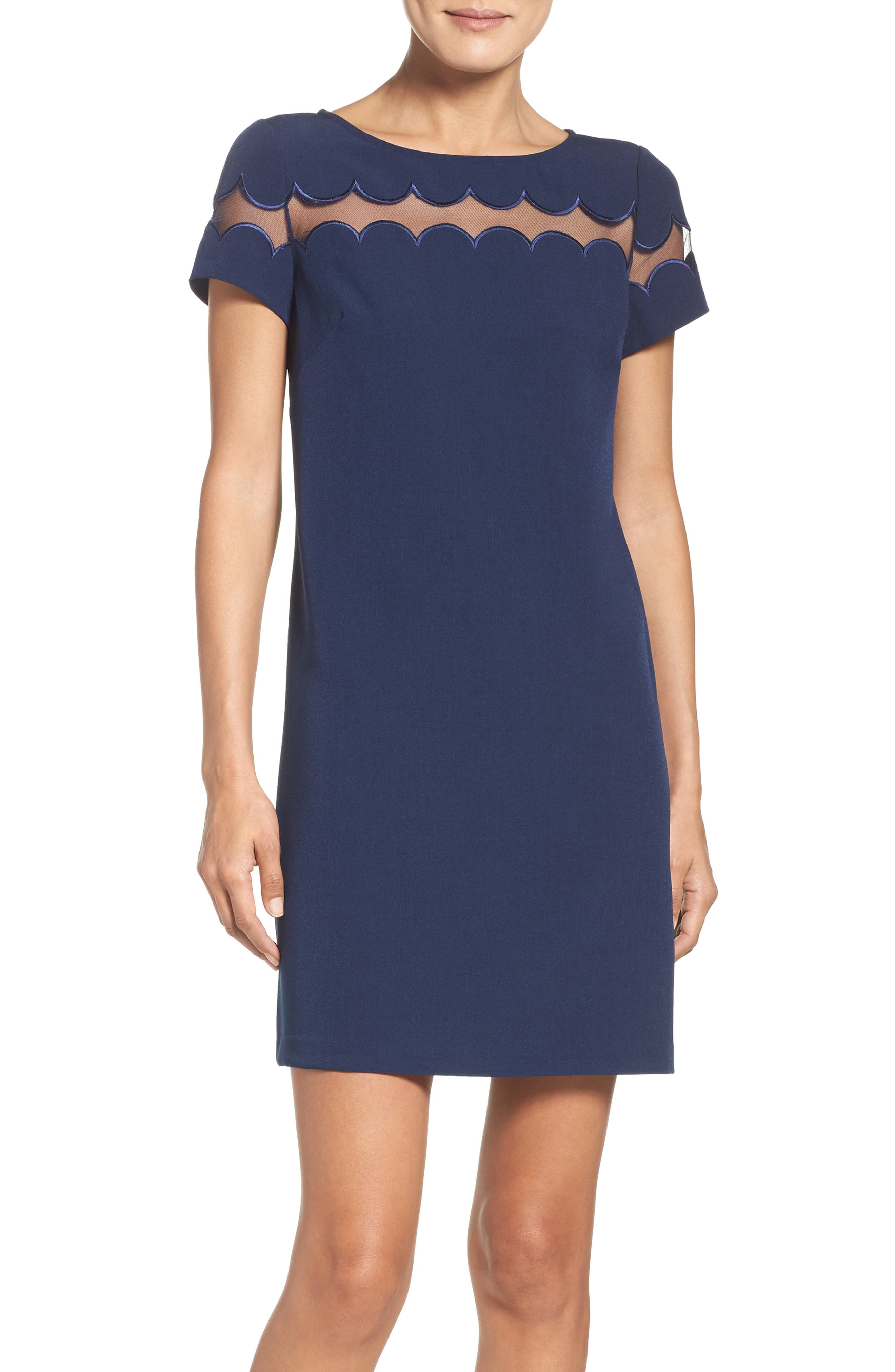 Scallop Inset Crepe Sheath Dress,                         Main,                         color, Dusk