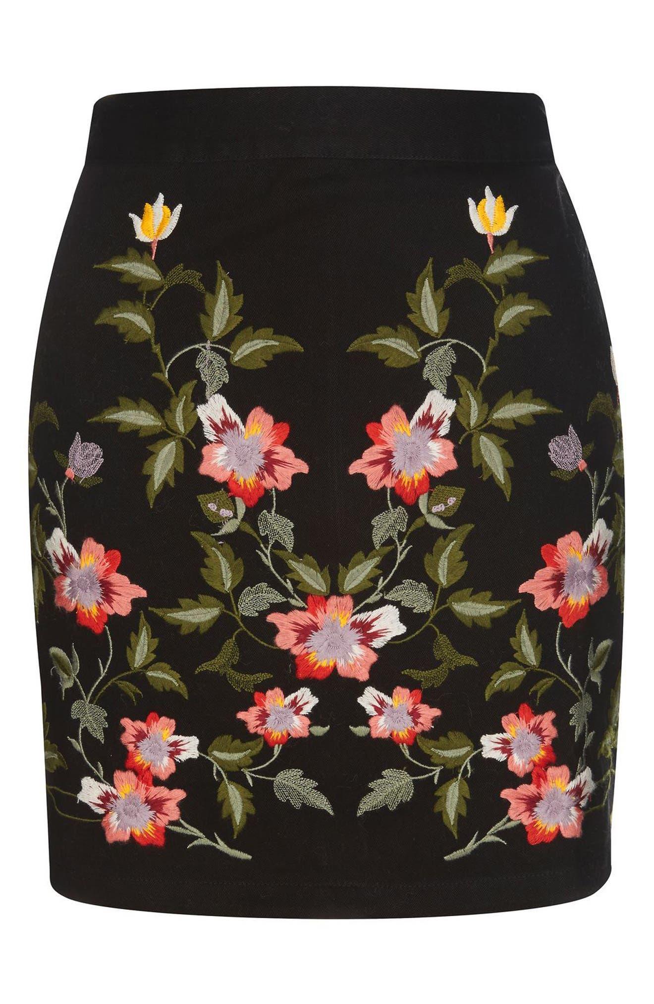 Alternate Image 4  - Topshop Ivy Flower Embroidered Skirt