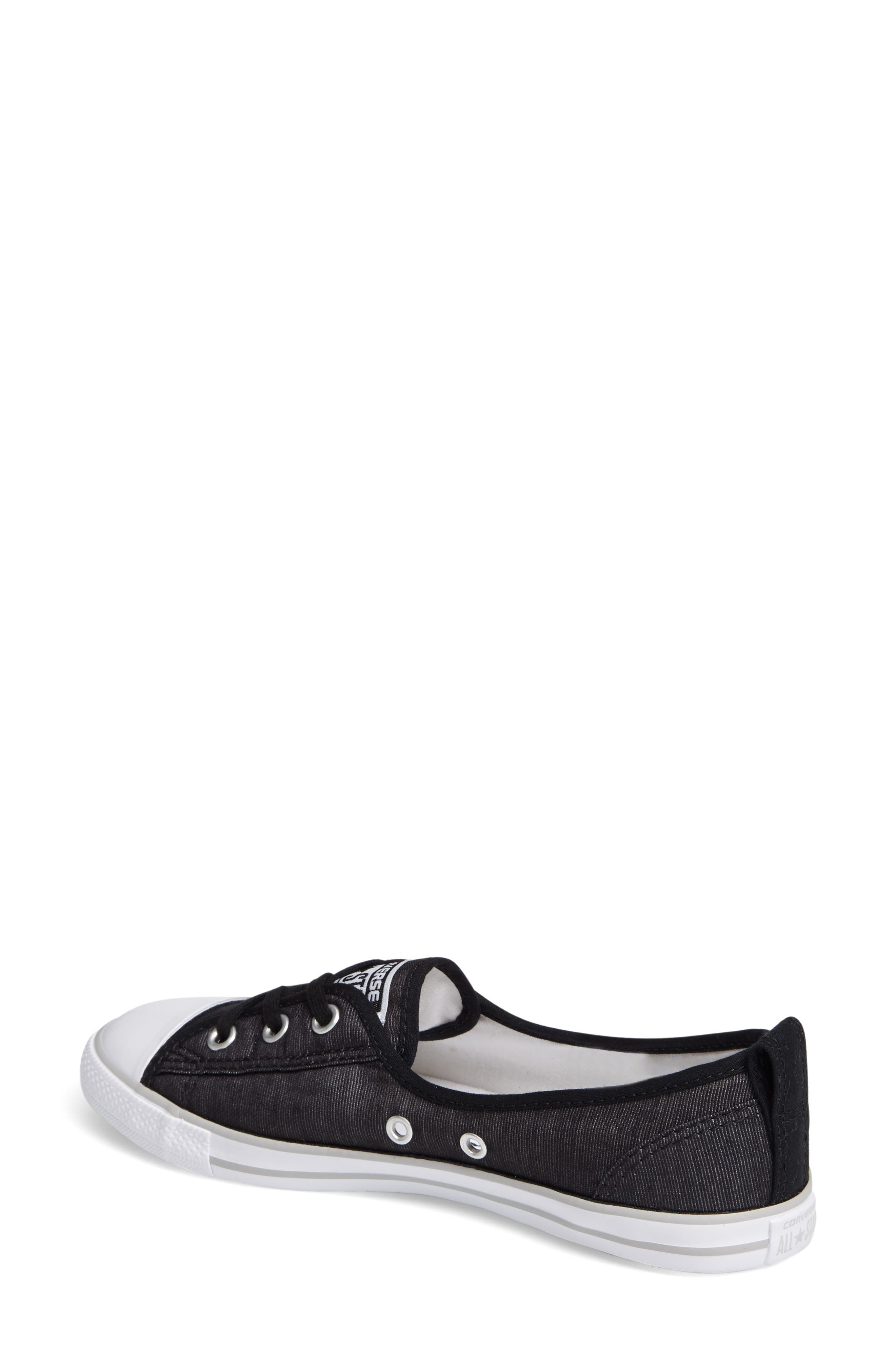 Chuck Taylor<sup>®</sup> All Star<sup>®</sup> Ballet Canvas Sneaker,                             Alternate thumbnail 2, color,                             Black/ White/ Mouse