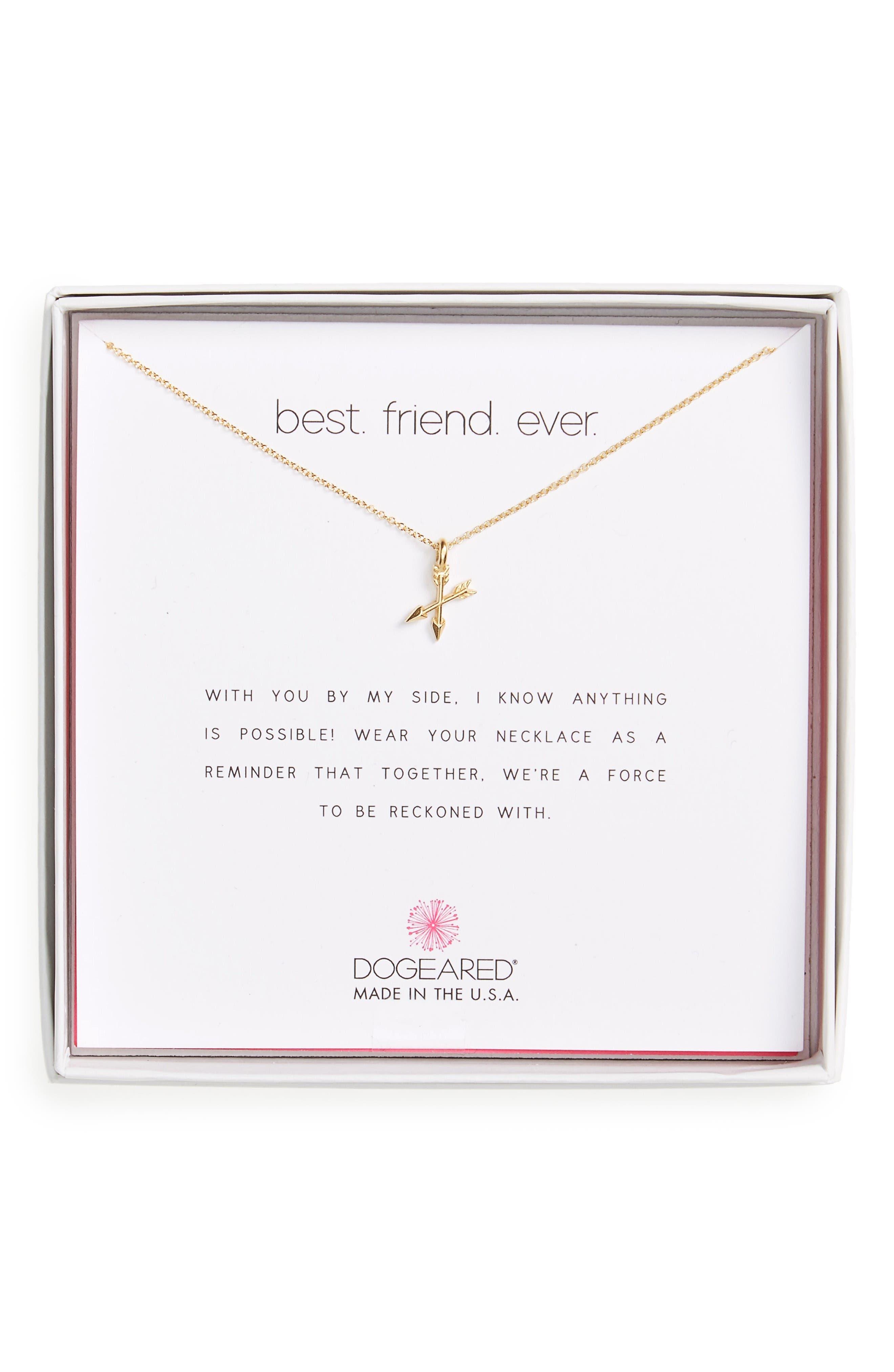 Best Friend Ever Pendant Necklace,                         Main,                         color, Gold
