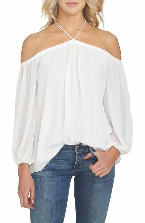 57b9574ebea STATE Off the Shoulder Sheer Chiffon Blouse