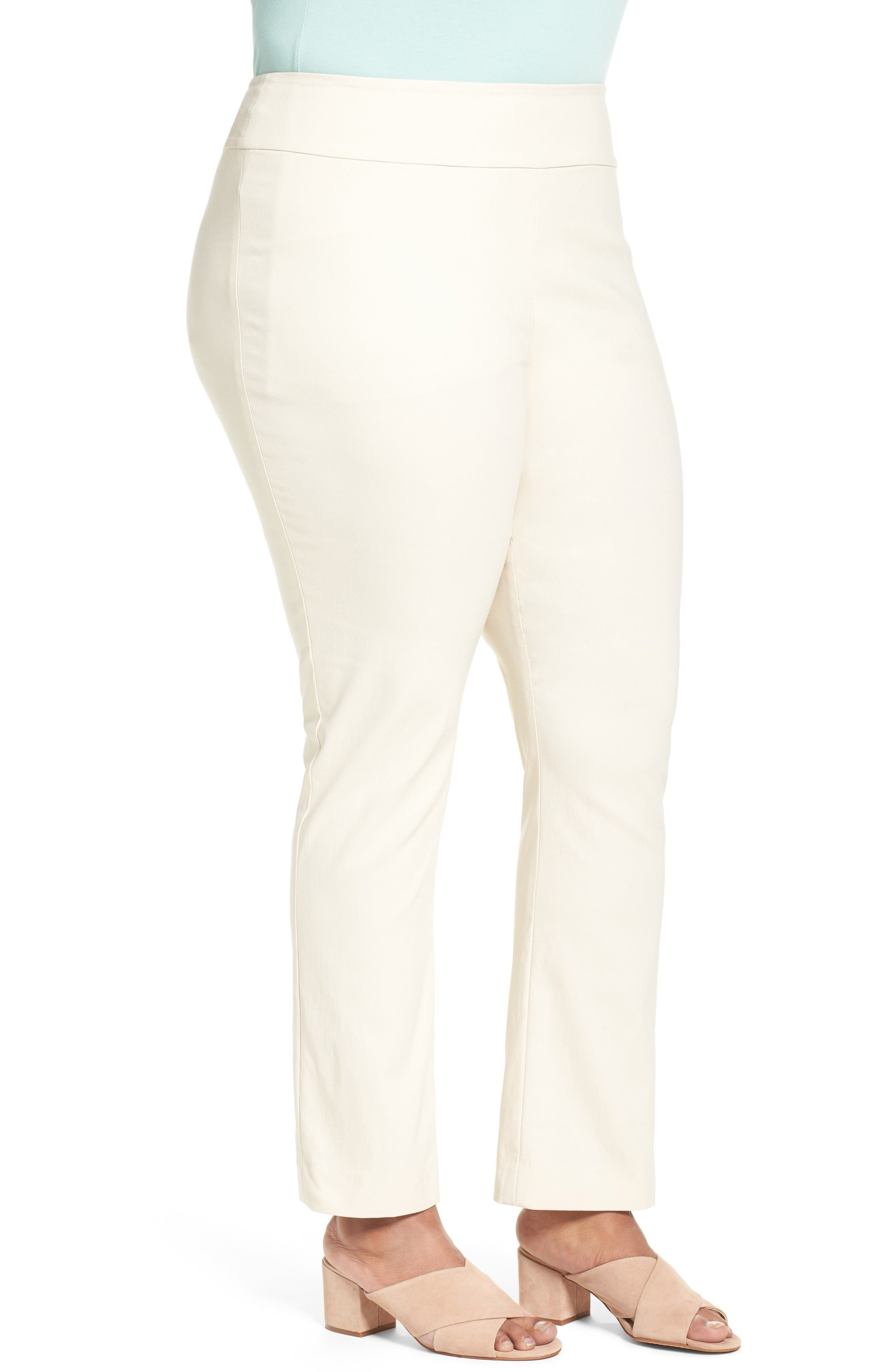 'Wonder Stretch' Straight Leg Pants,                             Alternate thumbnail 3, color,                             Sandshell