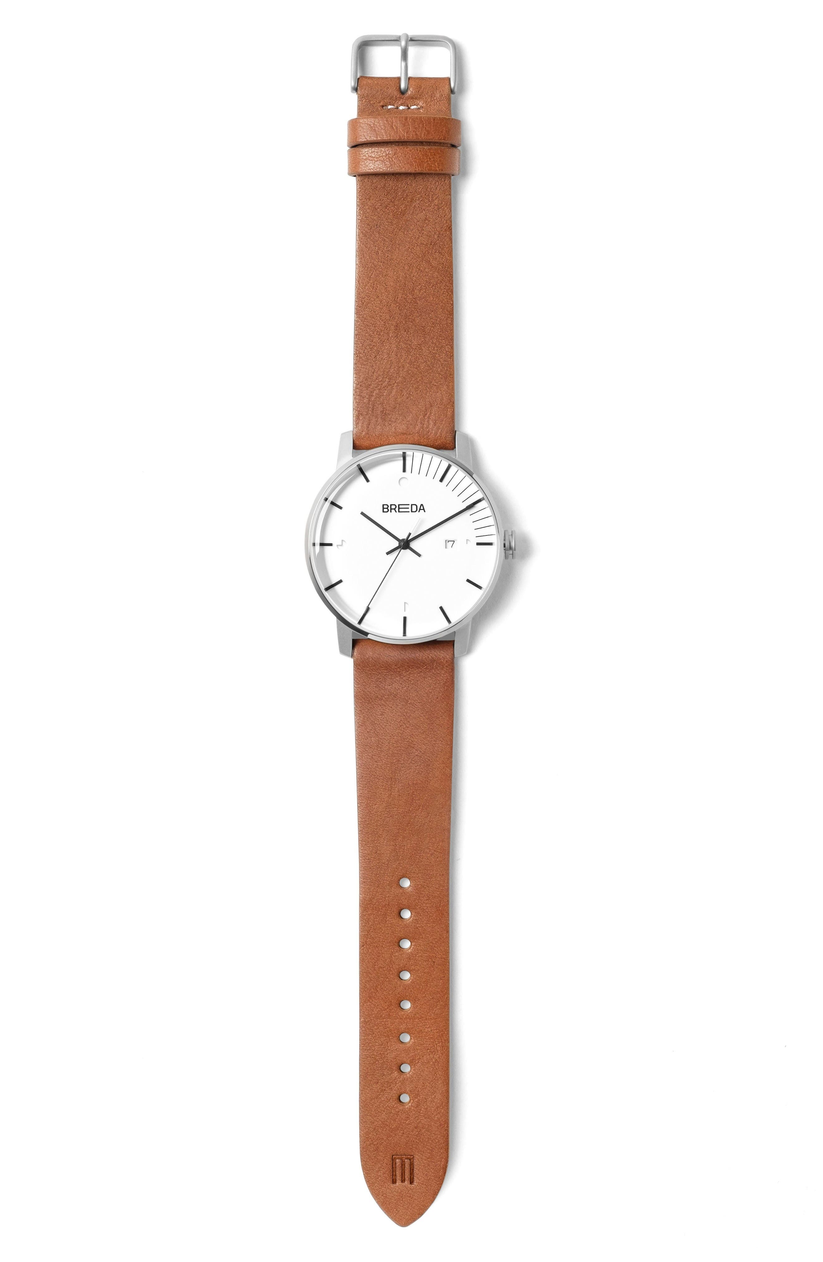 Phase Leather Strap Watch, 39mm,                             Alternate thumbnail 2, color,                             White/ Brown
