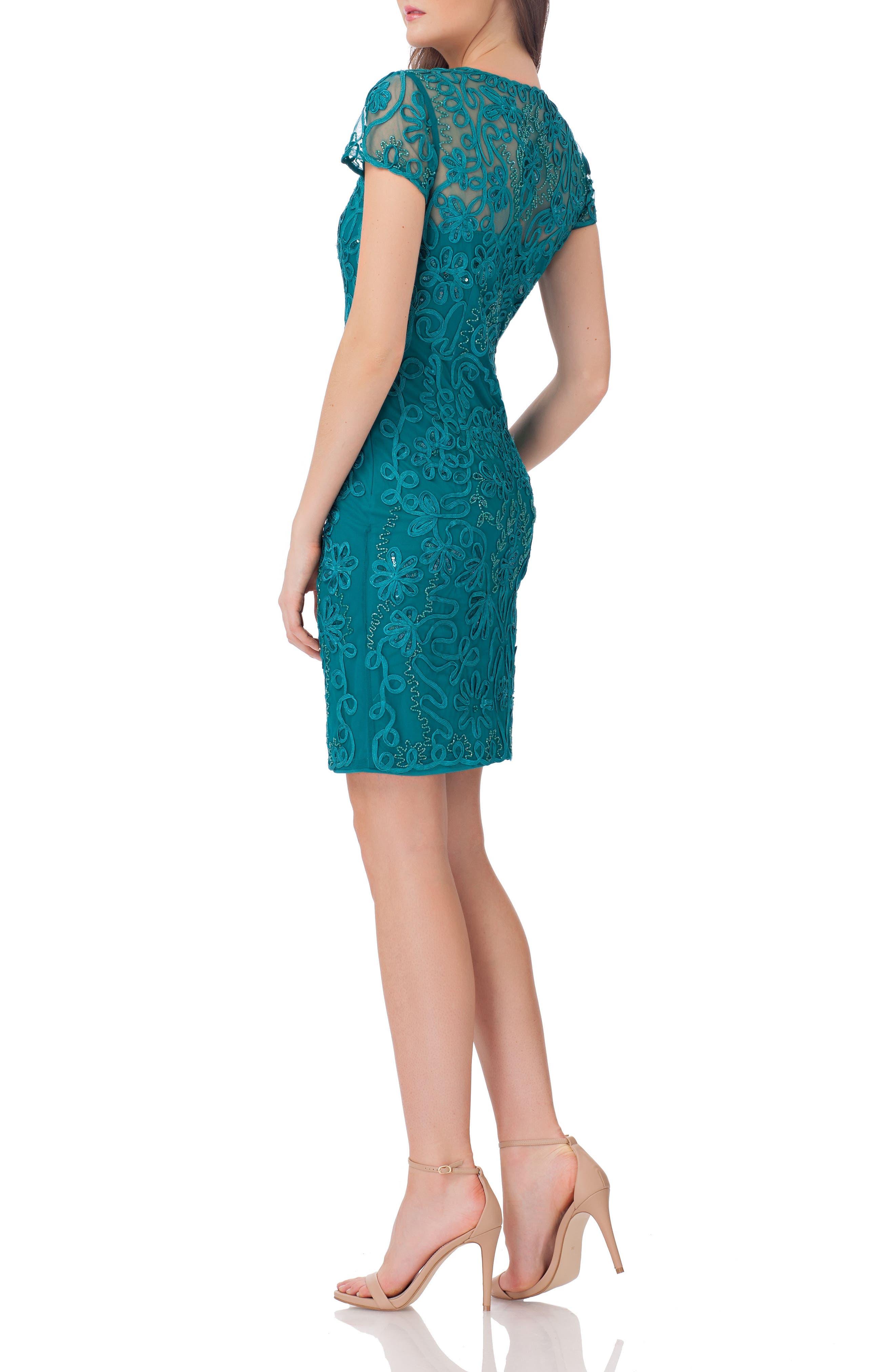 Embellished Soutache Sheath Dress,                             Alternate thumbnail 2, color,                             Jade
