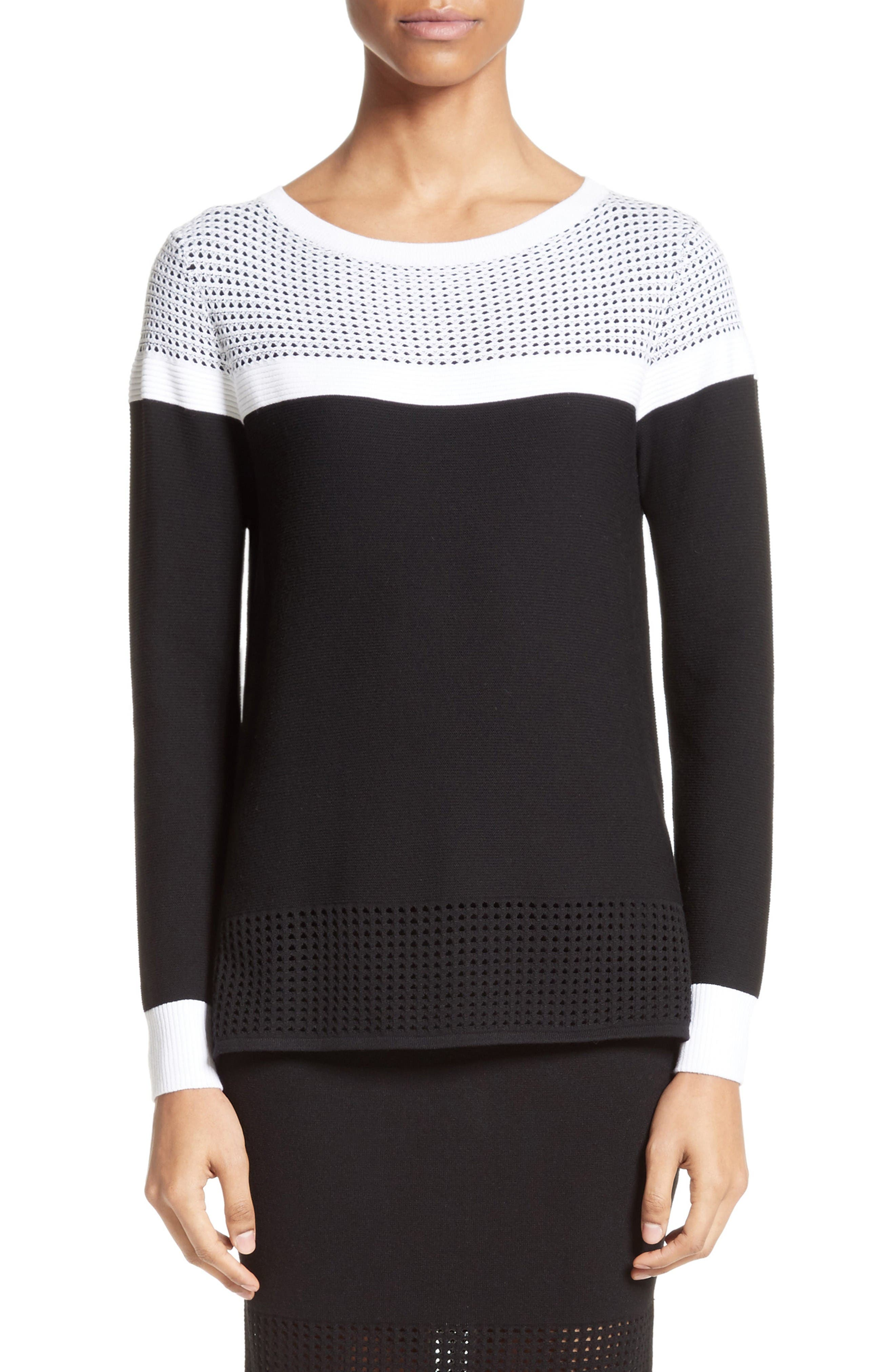 ST. JOHN COLLECTION Technical Mesh Stitch Sweater