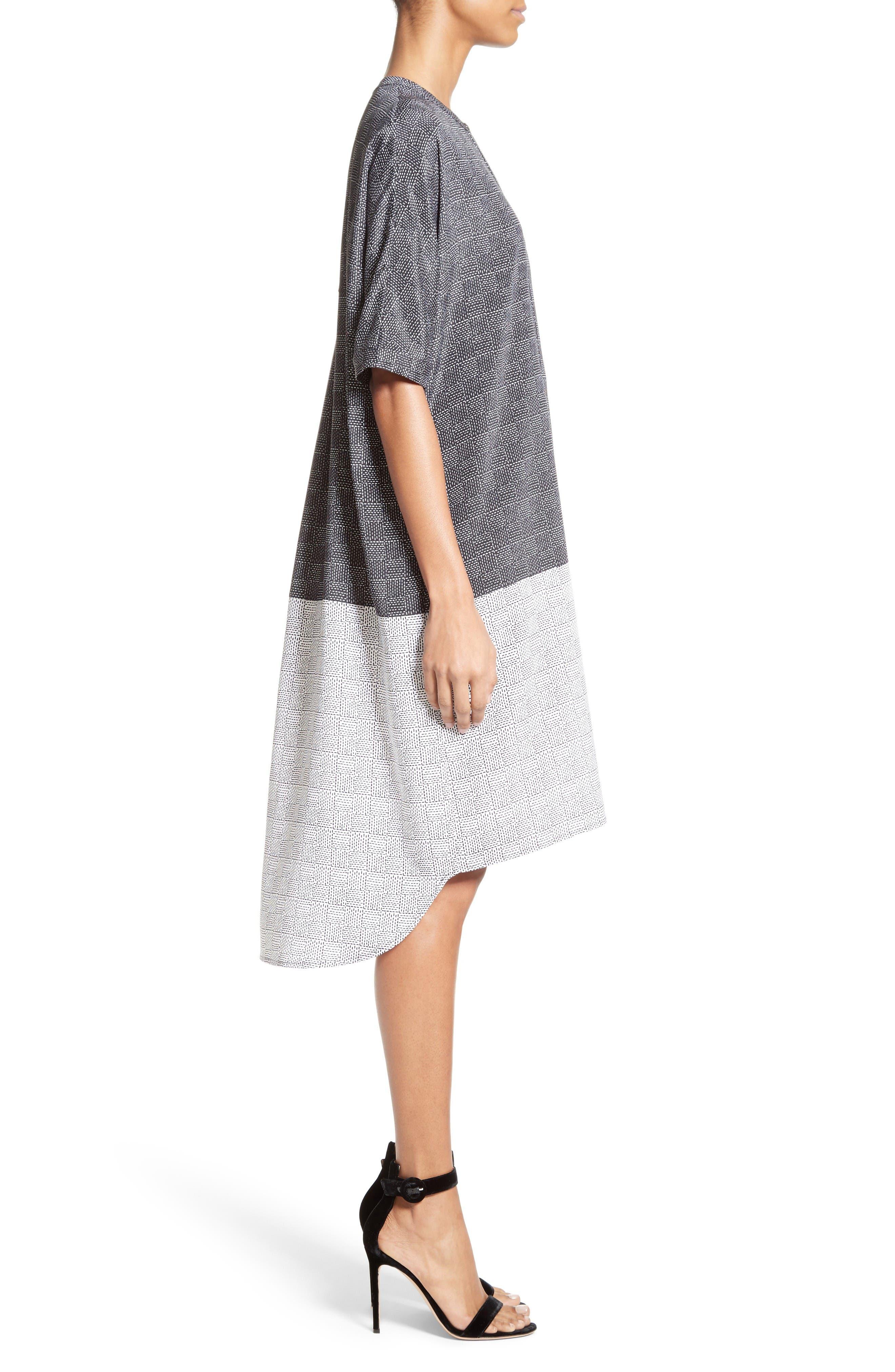Alternate Image 3  - St. John Collection Stitching Print Stretch Silk Shirtdress