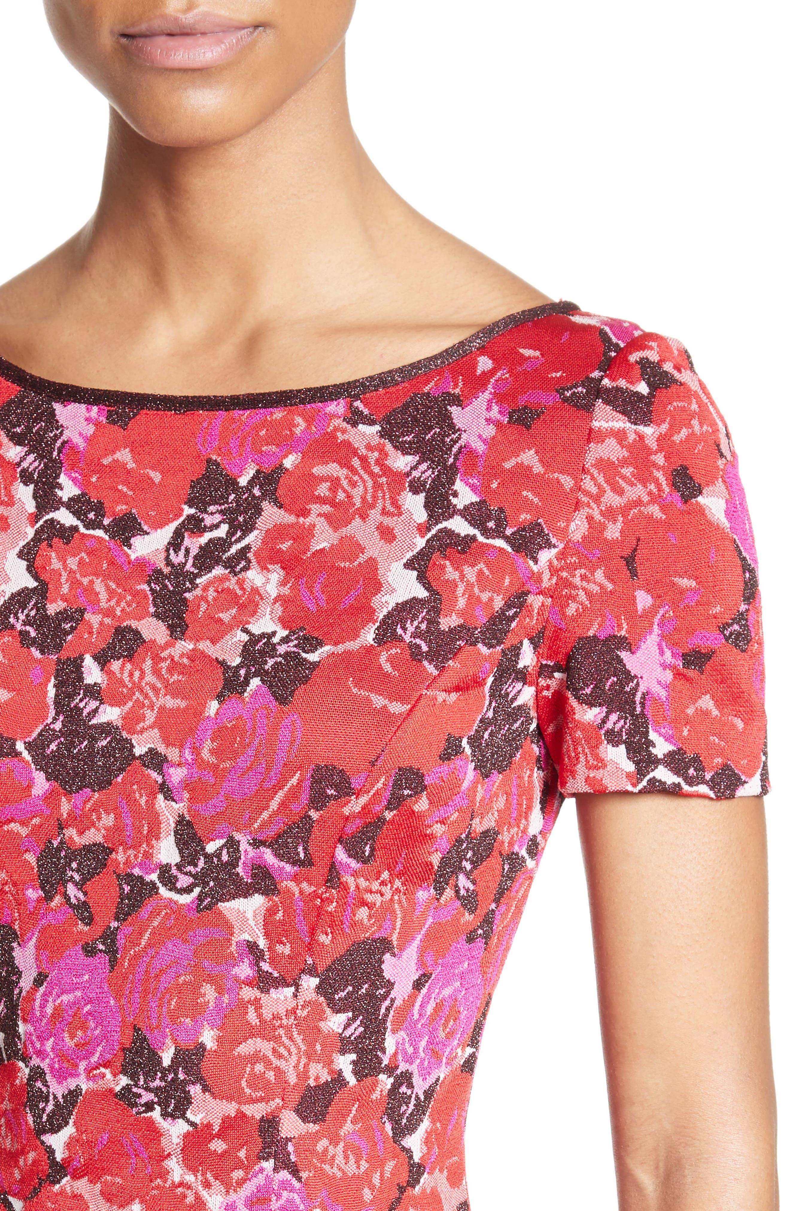 Alternate Image 4  - St. John Collection Indian Rose Blister Jacquard Dress